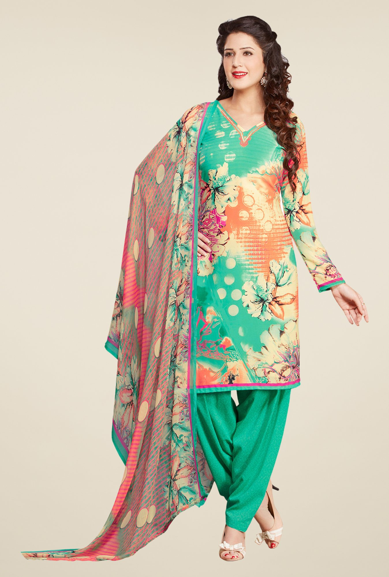 Salwar Studio Pista & Pale Yellow Printed Dress Material
