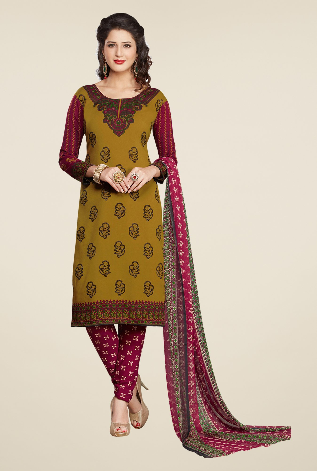 Salwar Studio Olive & Maroon Printed Dress Material