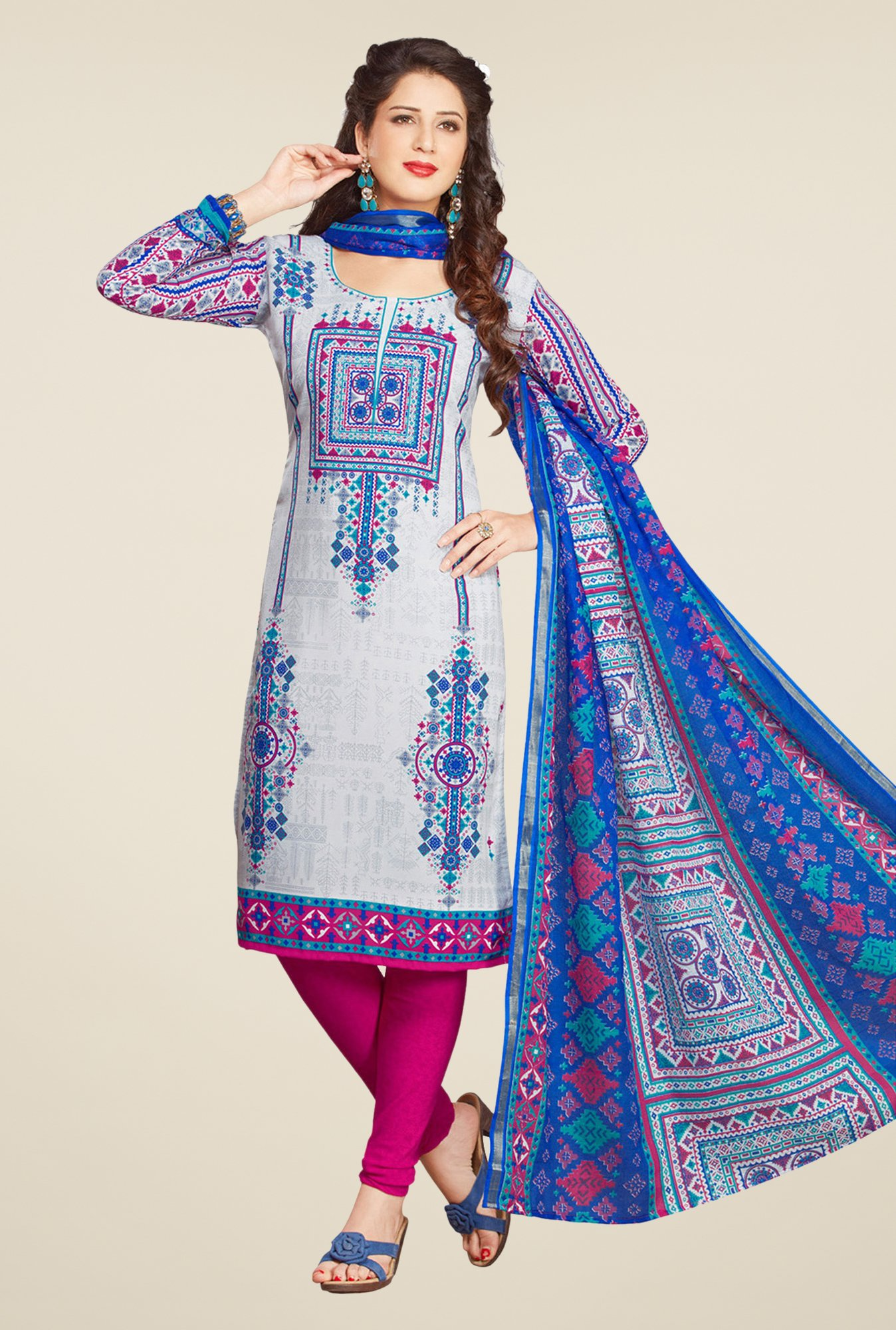 Salwar Studio Blue & Pink Printed Free Size Dress Material