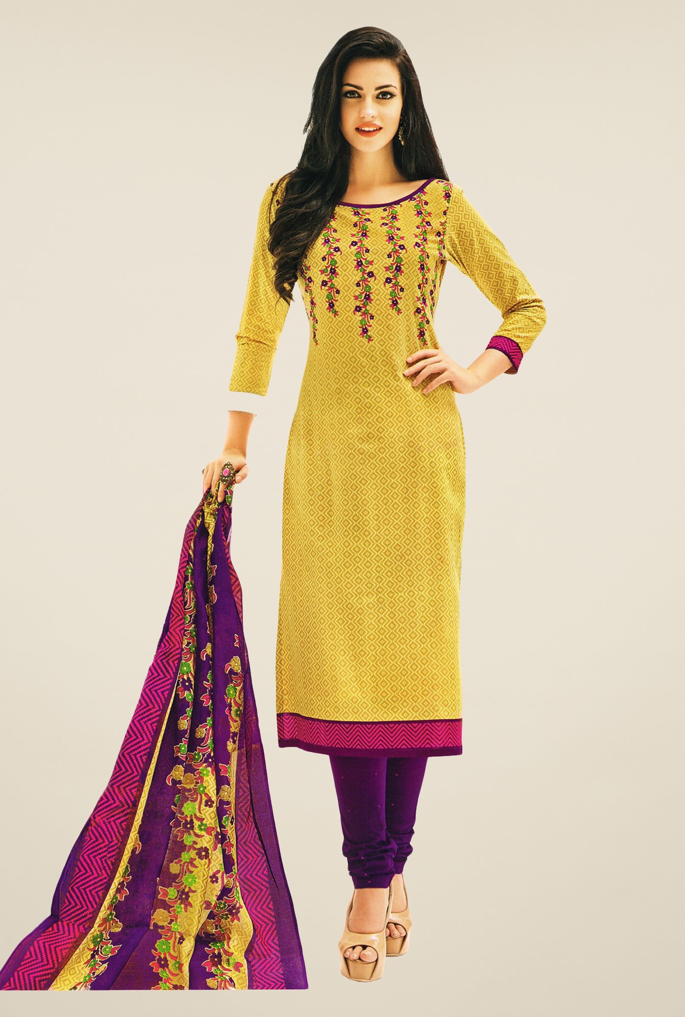 Salwar Studio Beige & Purple Printed Dress Material