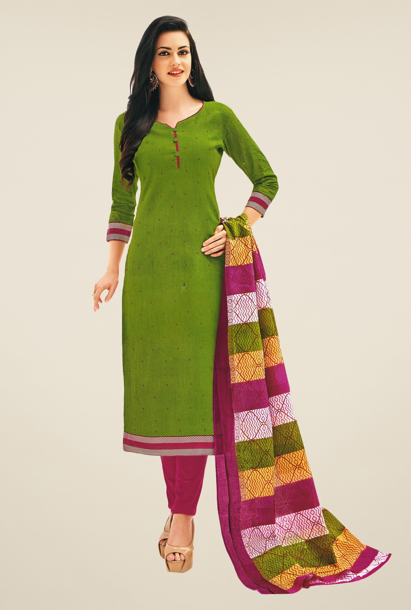 Salwar Studio Mehndi Green & Pink Printed Dress Material