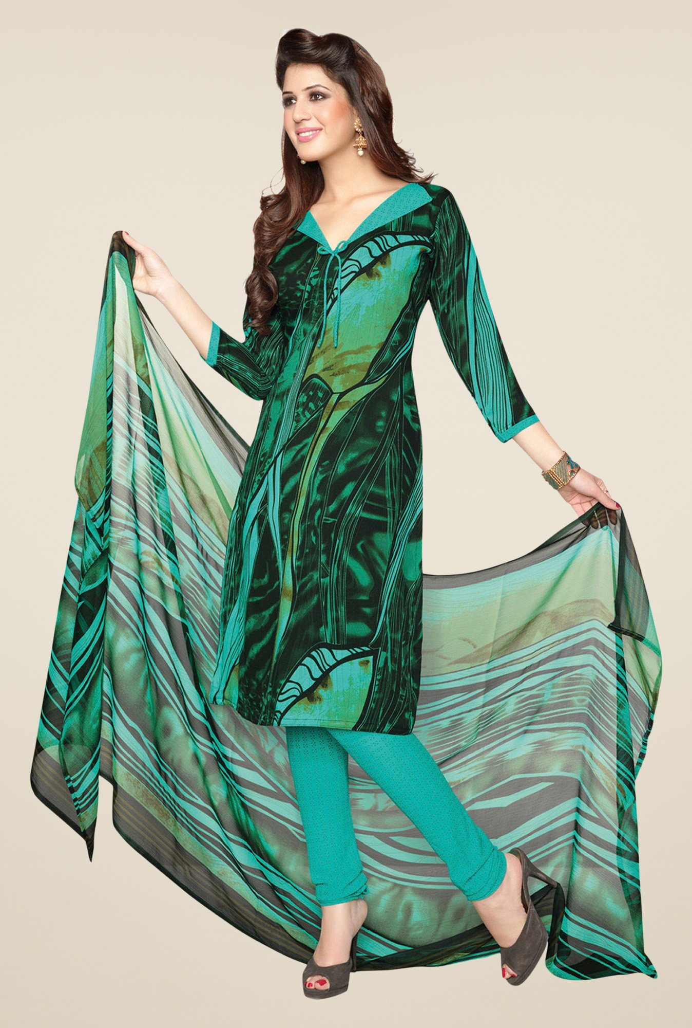 Salwar Studio Mint Green & Black Printed Dress Material