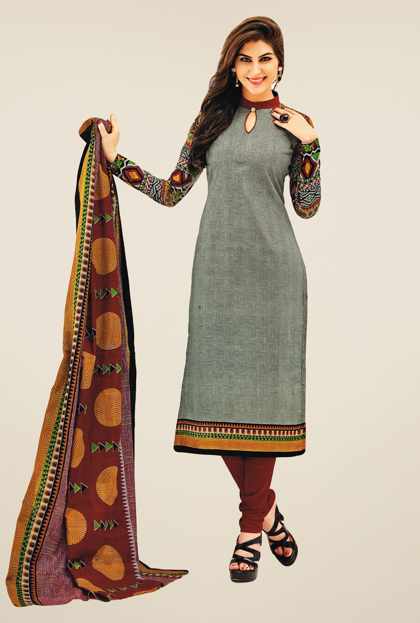 Salwar Studio Grey & Maroon Printed Cotton Dress Material