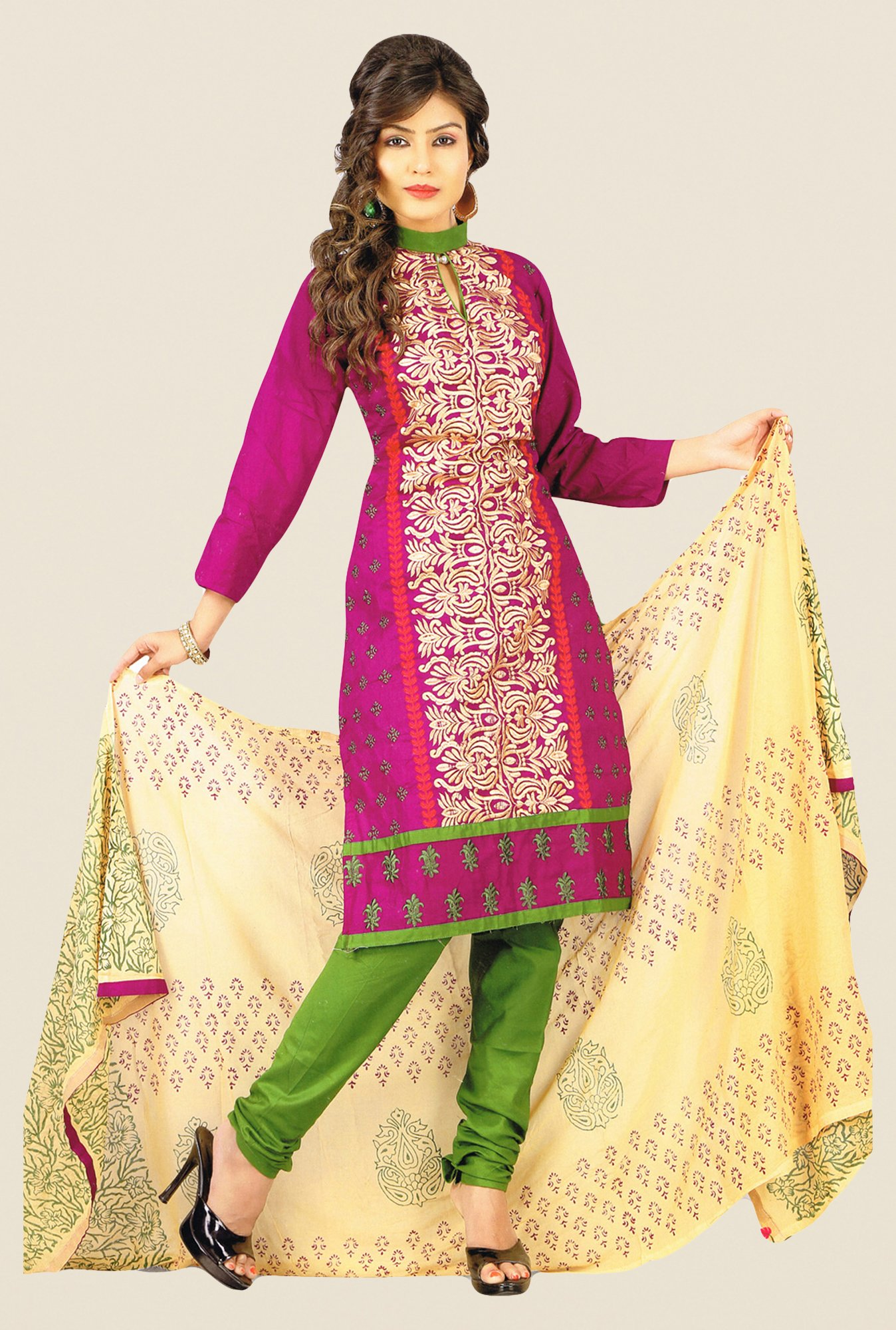 Salwar Studio Magenta & Beige Embroidered Dress Material