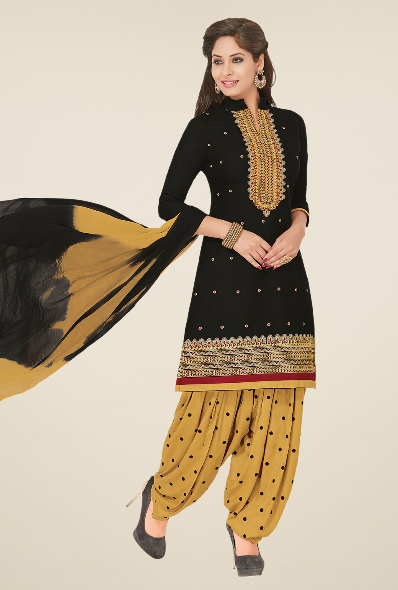 Salwar Studio Black & Beige Dress Material