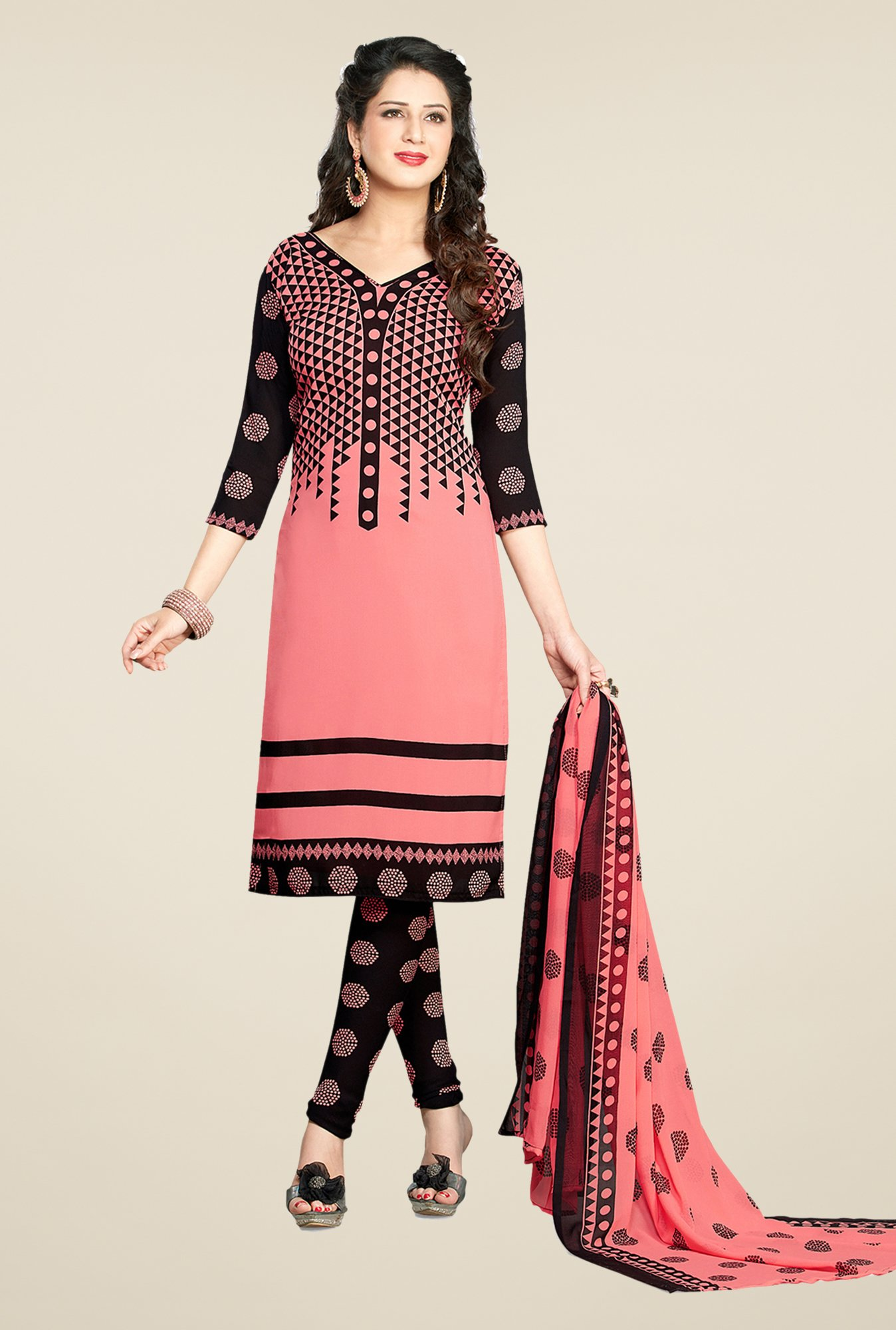 Salwar Studio Peach & Black Printed Dress Material