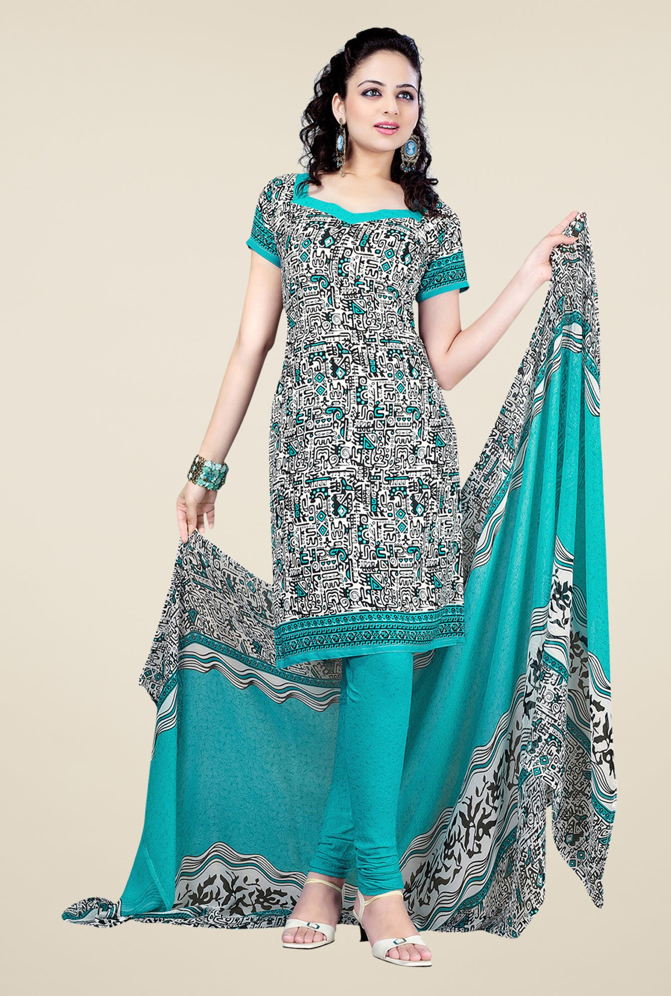 Salwar Studio Aqua & White Printed Dress Material