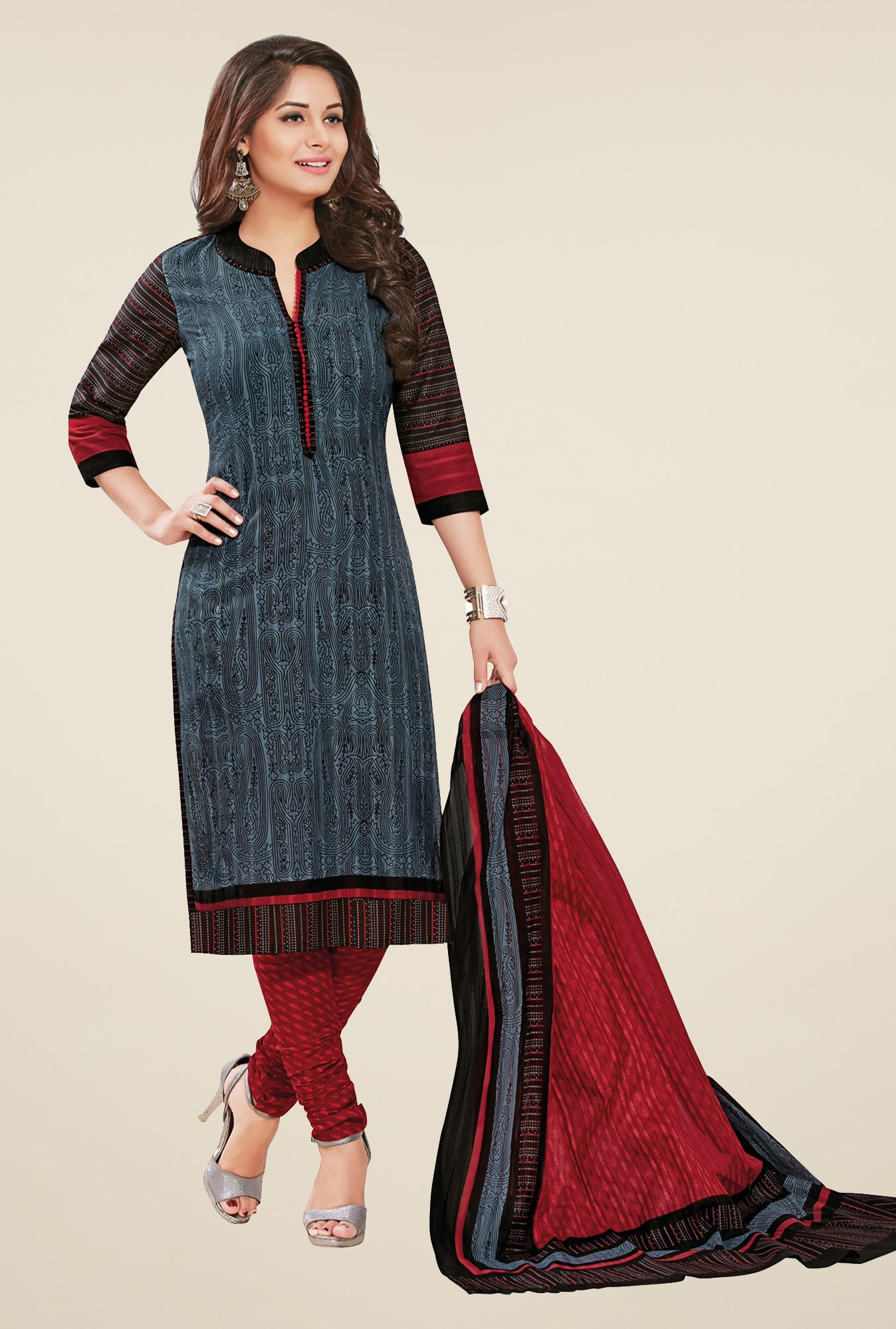 Salwar Studio Grey & Maroon Printed Dress Material