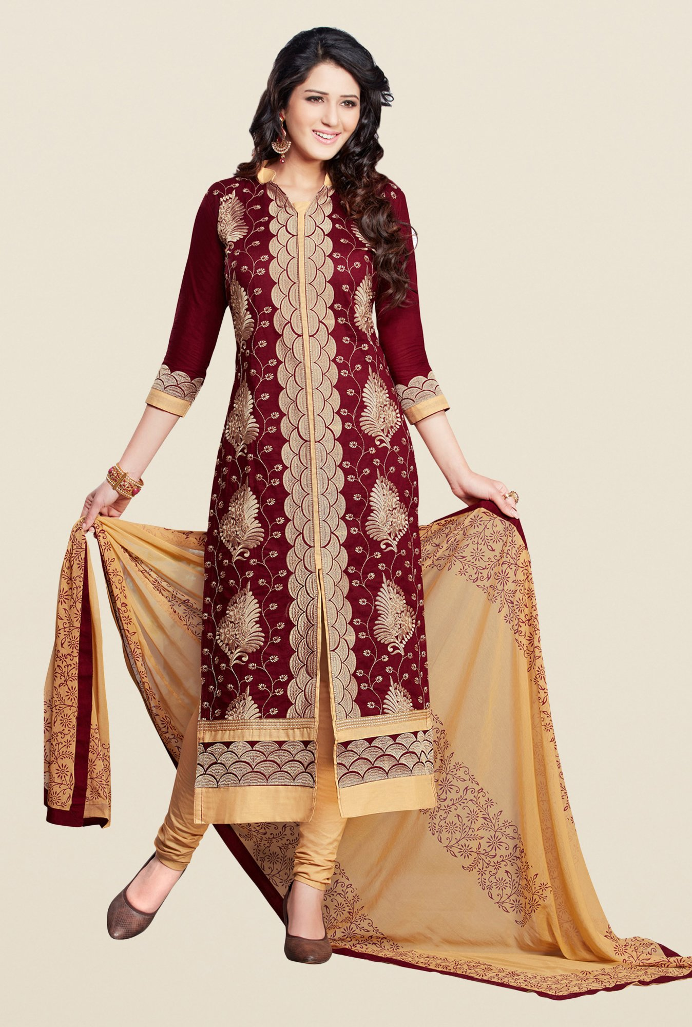 Salwar Studio Brown & Beige Karachi Cotton Dress Material