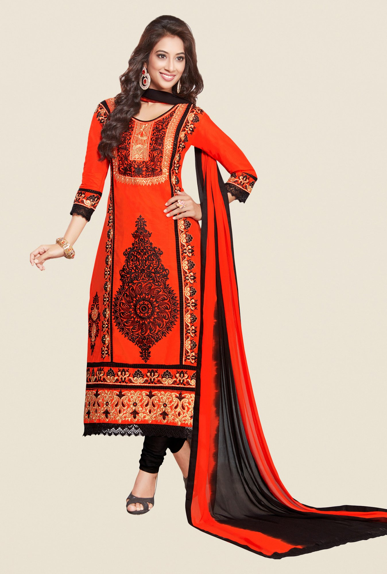 Salwar Studio Orange & Black Karachi Dress Material
