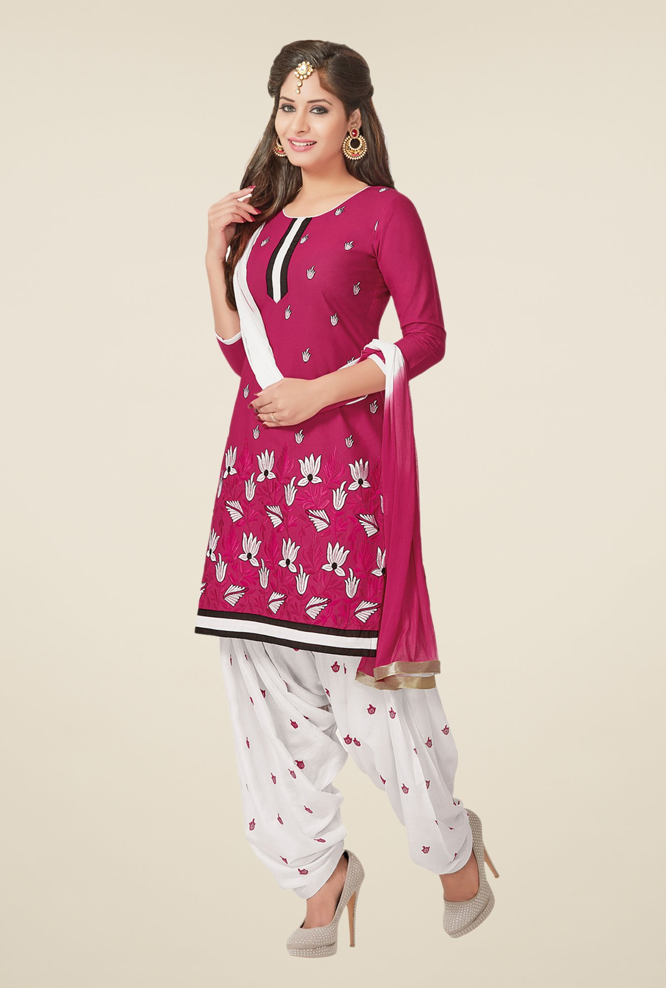 Salwar Studio Pink & White Dress Material
