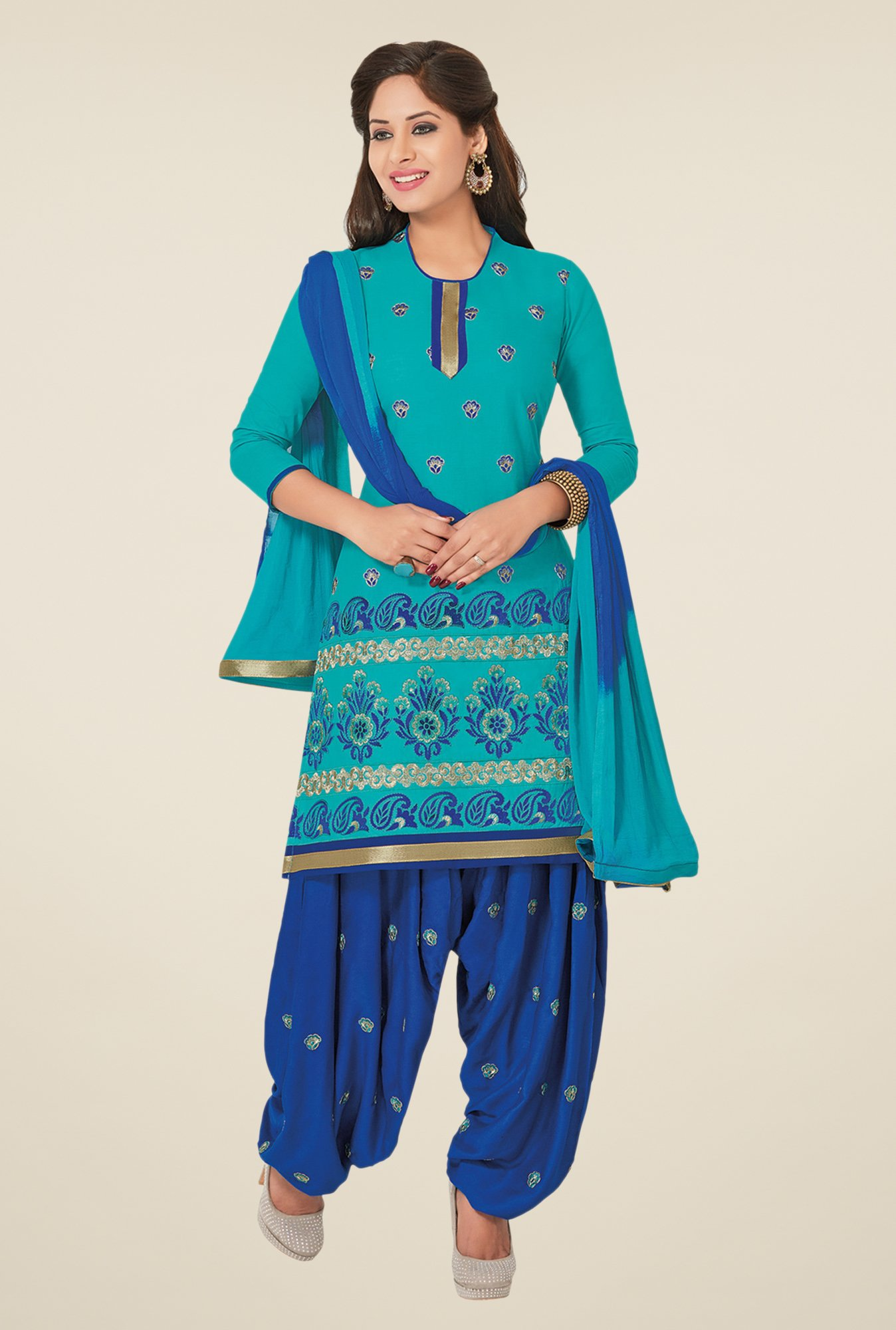 Salwar Studio Mint Blue & Royal Blue Dress Material