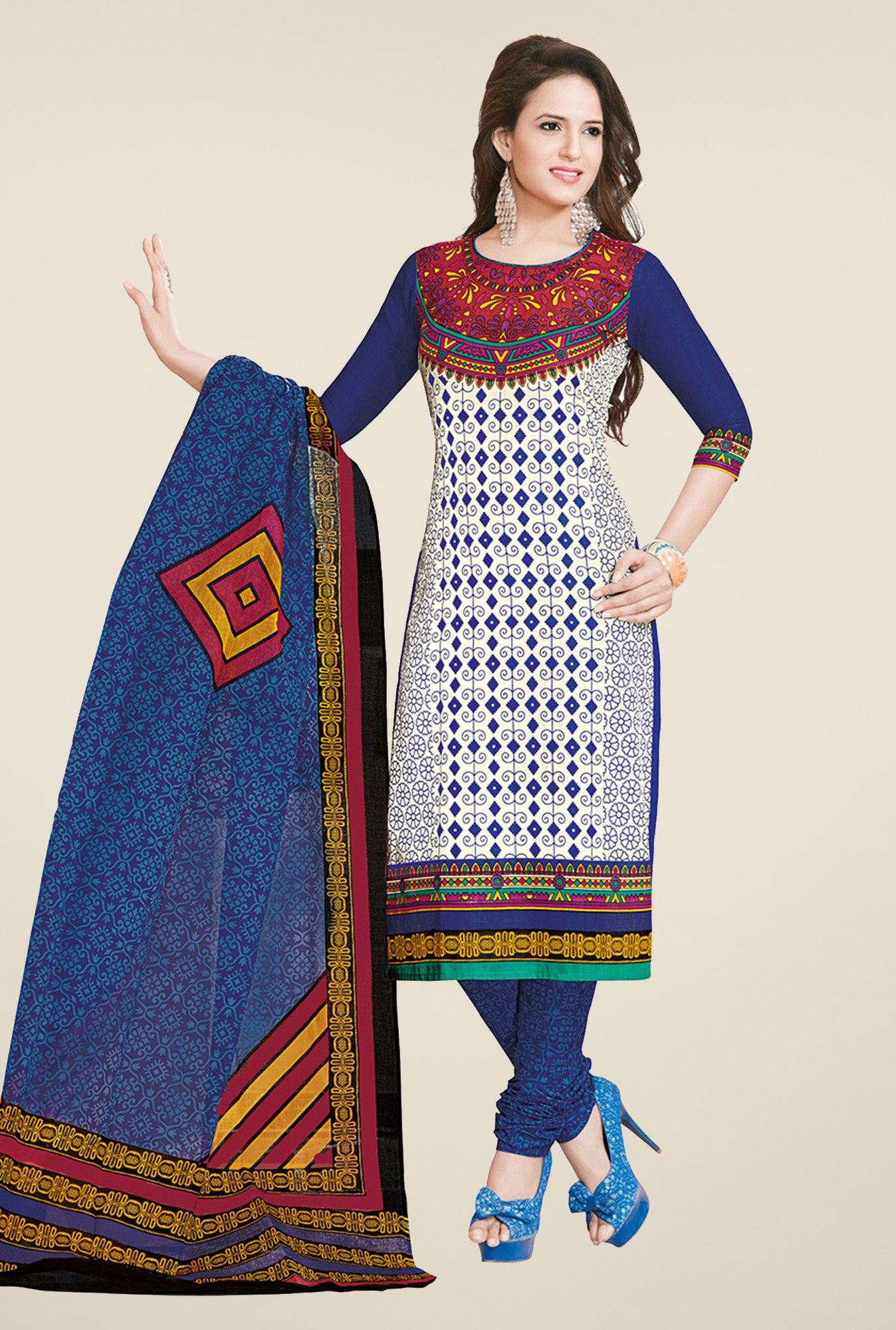 Salwar Studio Blue & White Cotton Dress Material