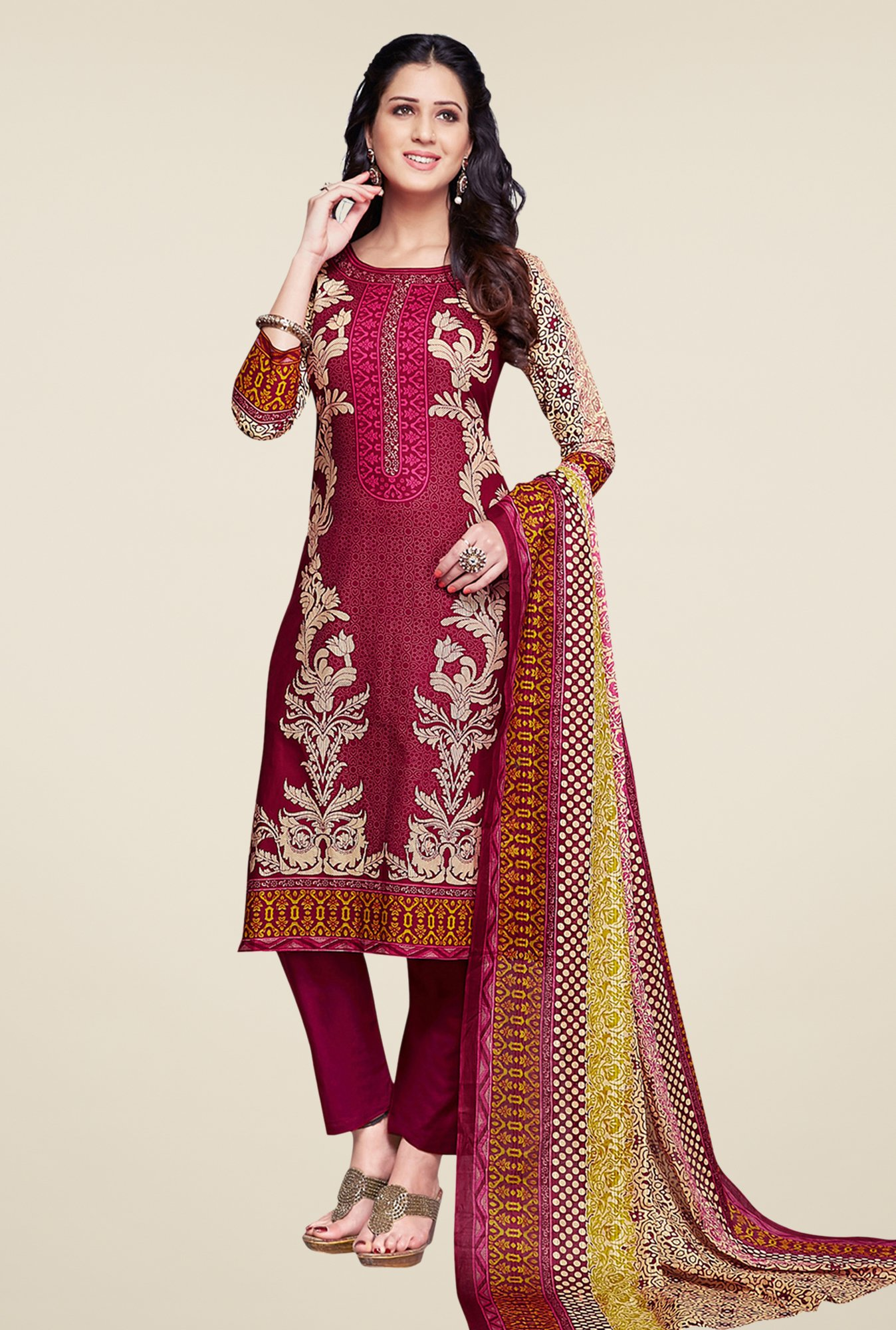 Salwar Studio Maroon & Beige Synthetic Dress Material