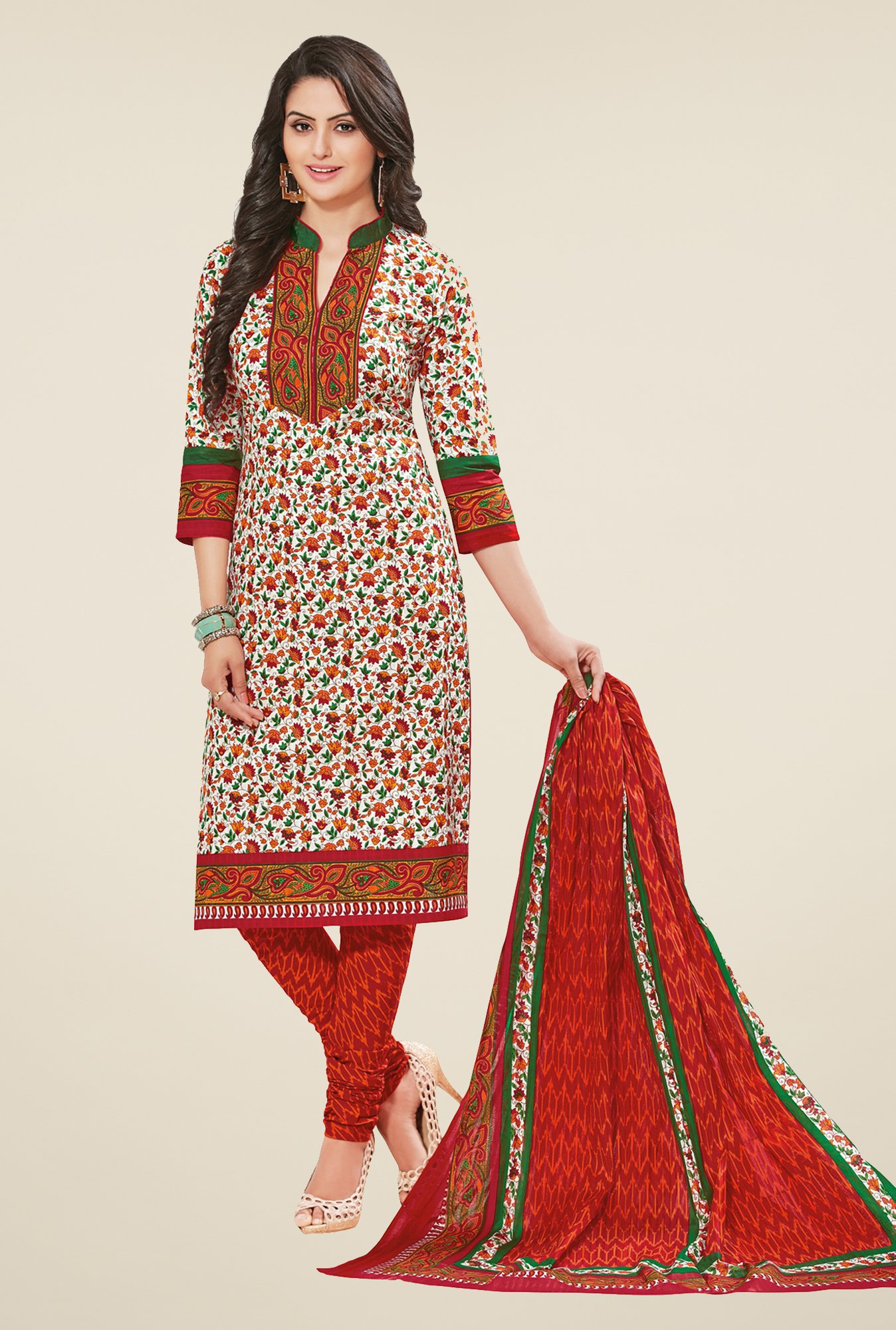 Salwar Studio Off White & Red Printed Dress Material