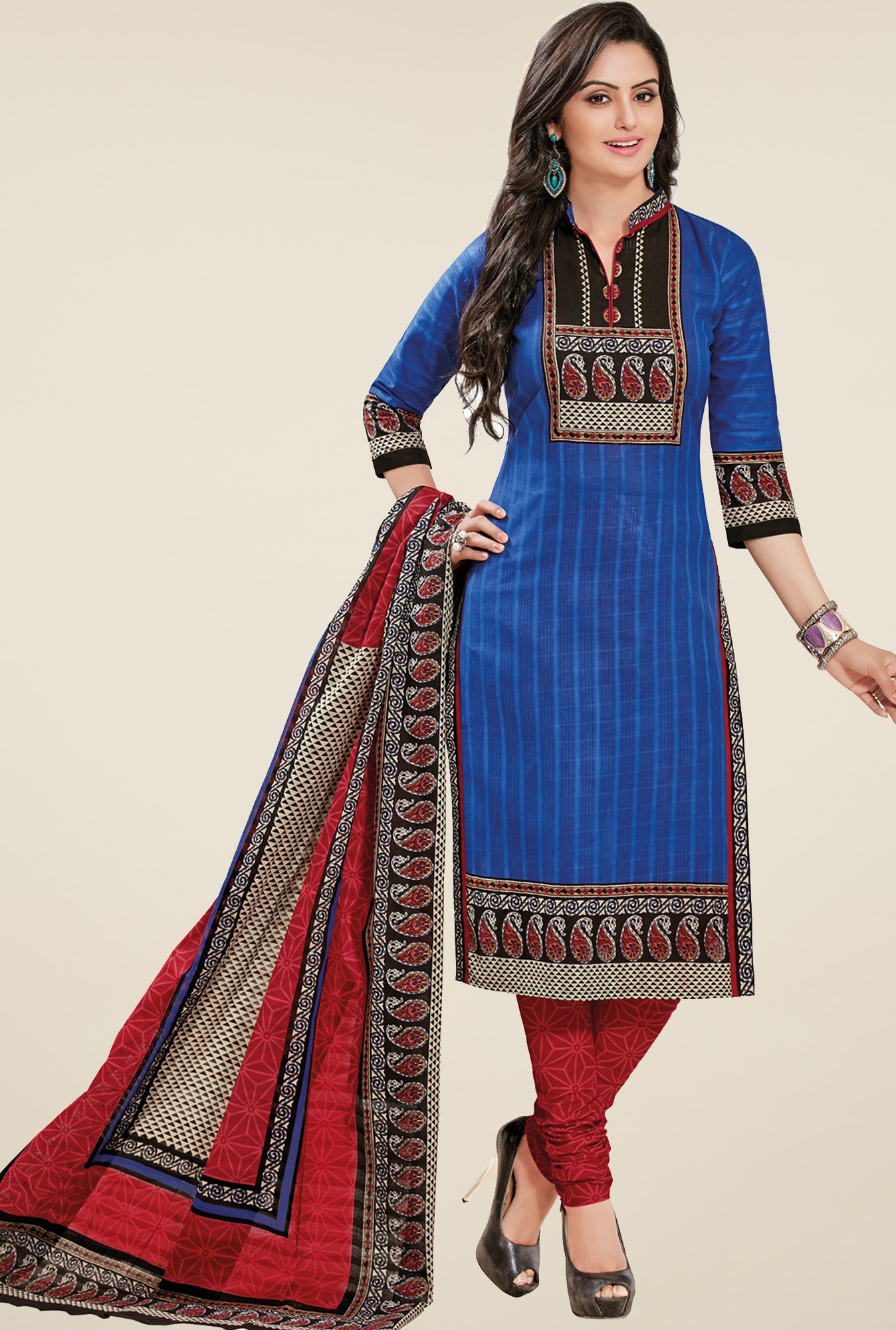 Salwar Studio Blue & Red Striped Dress Material