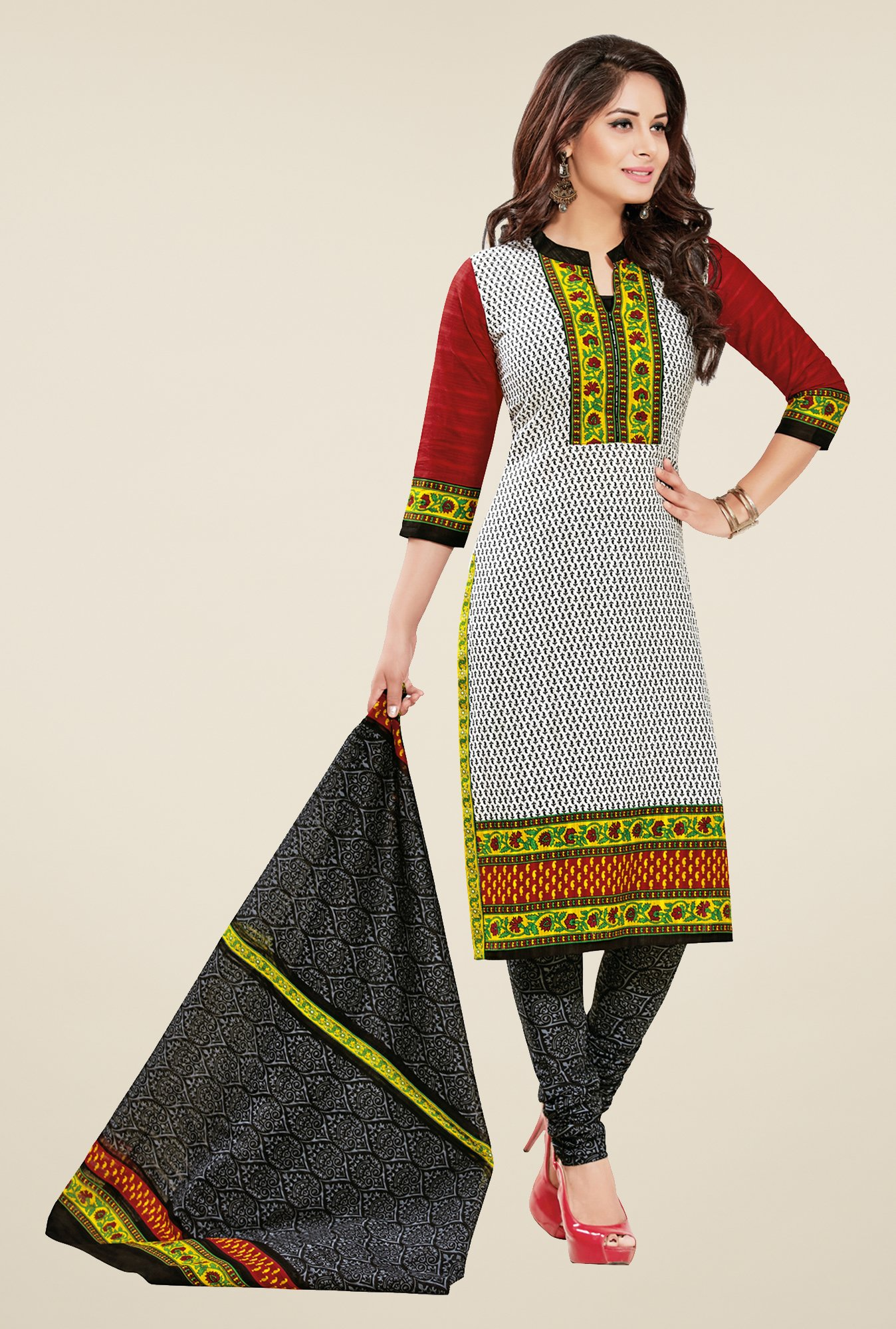 Salwar Studio Multicolor & Black Printed Dress Material