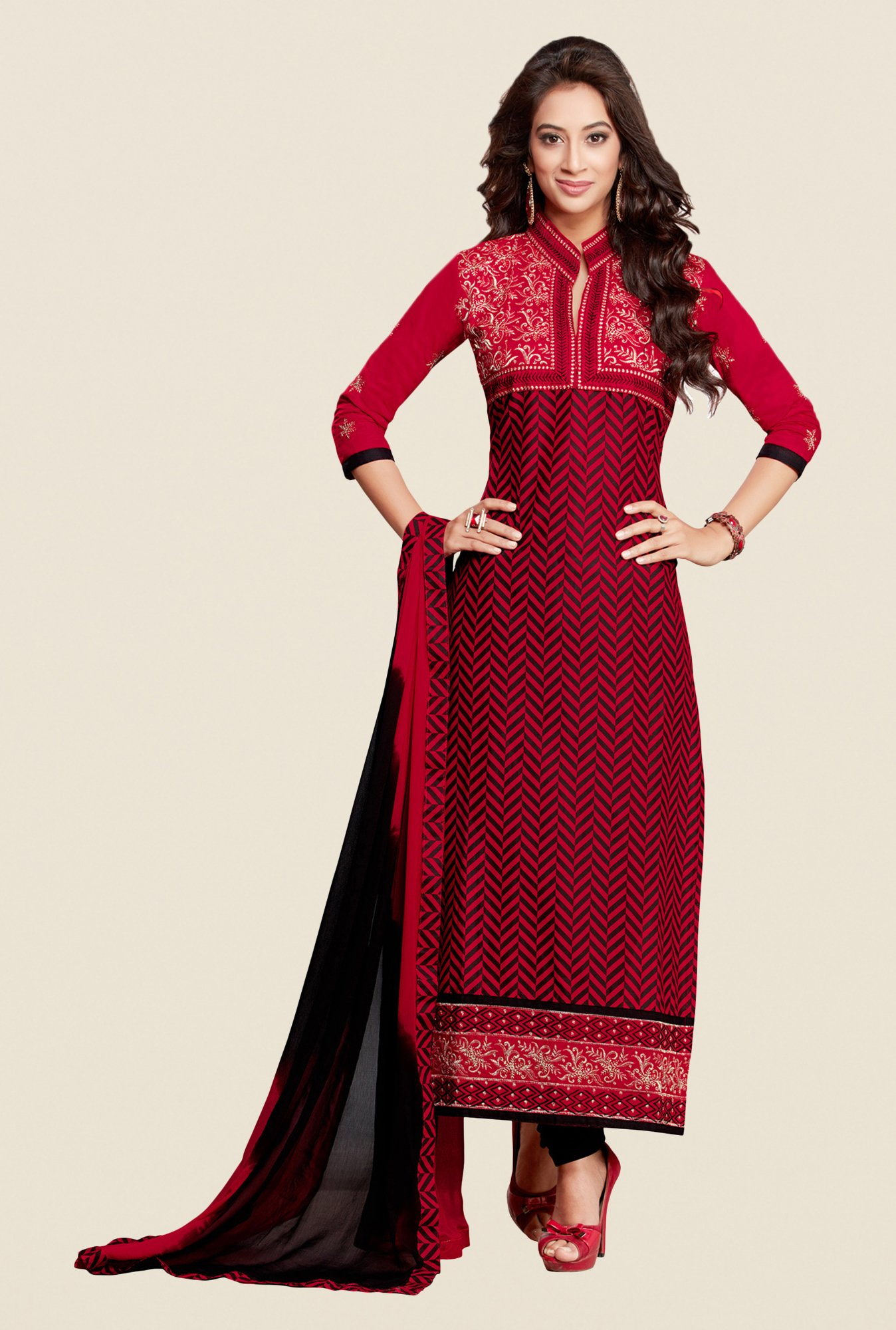 Salwar Studio Red & Black Karachi Embroidered Dress Material