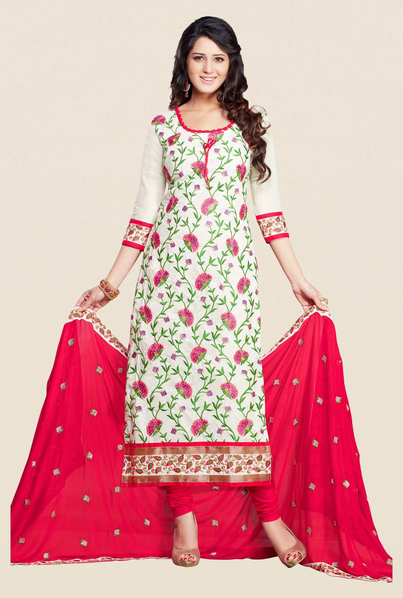 Salwar Studio White & Red Karachi Embroidered Dress Material