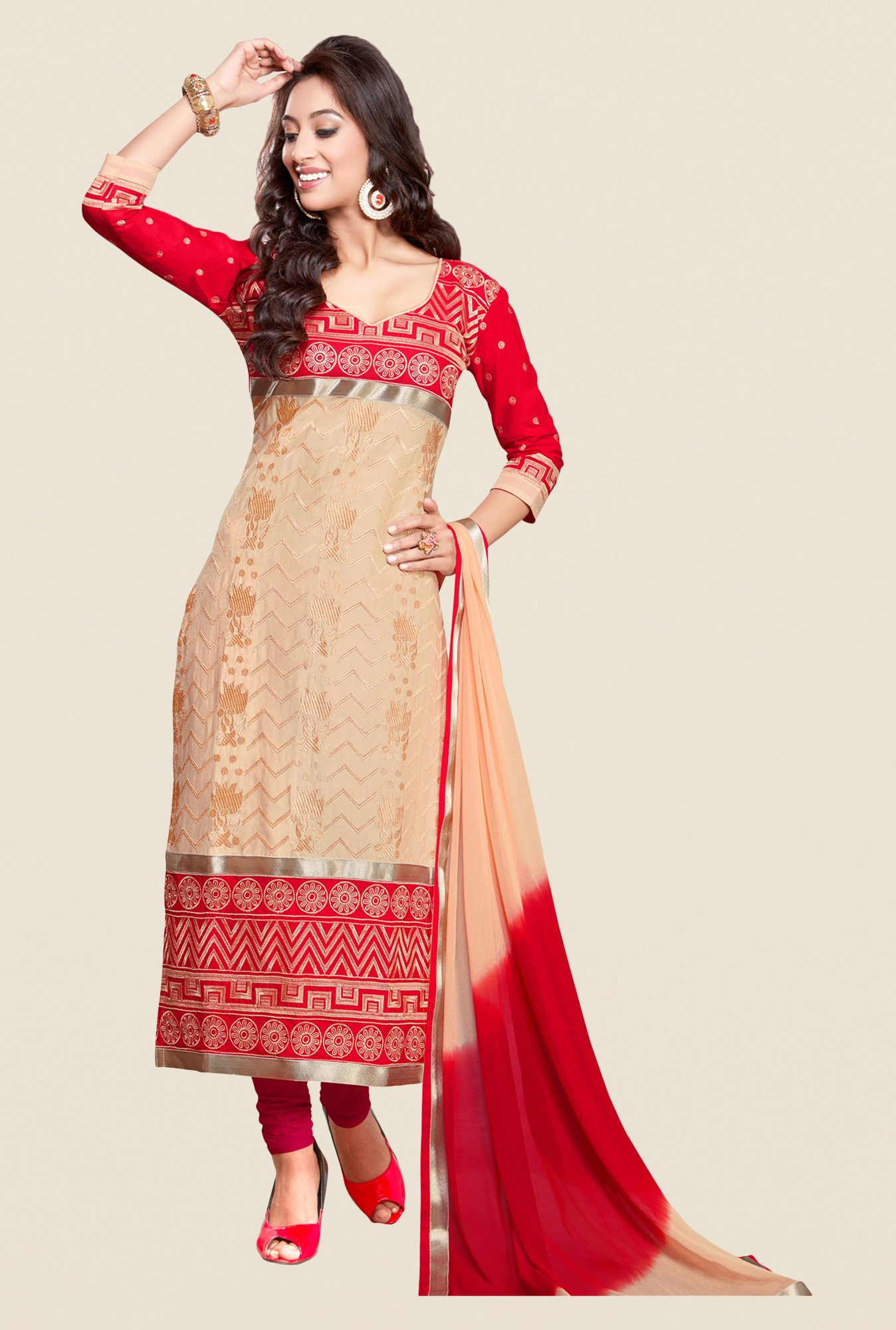 Salwar Studio Beige & Red Karachi Embroidered Dress Material