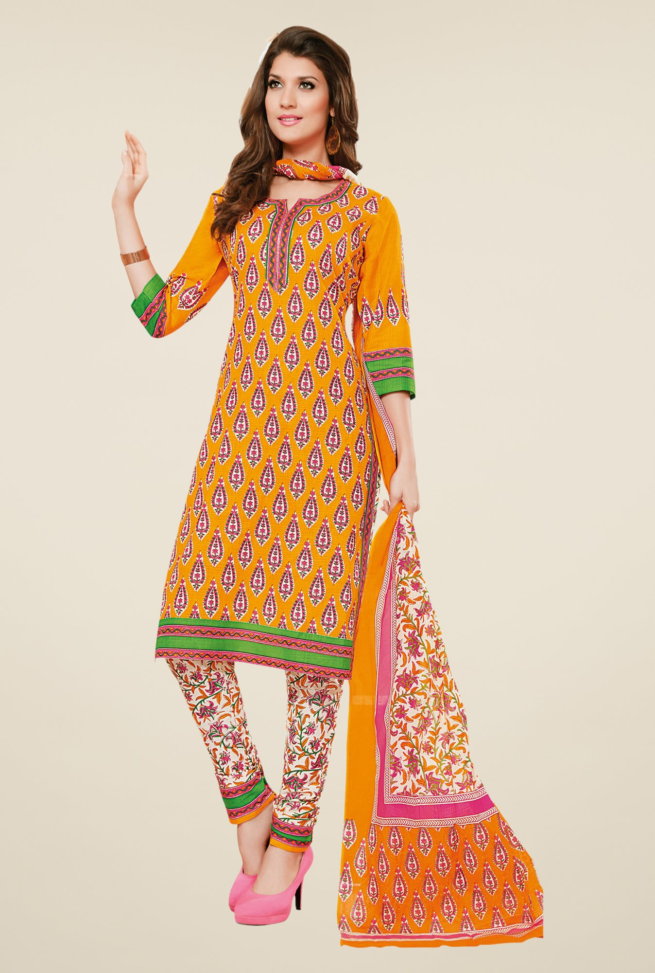 Salwar Studio Orange & White Dress Material