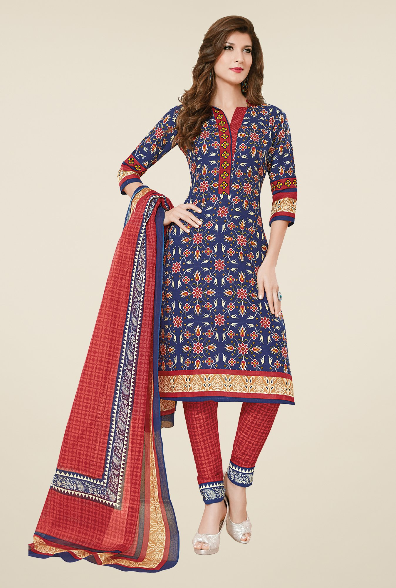 Salwar Studio Blue & Red Cotton Dress Material