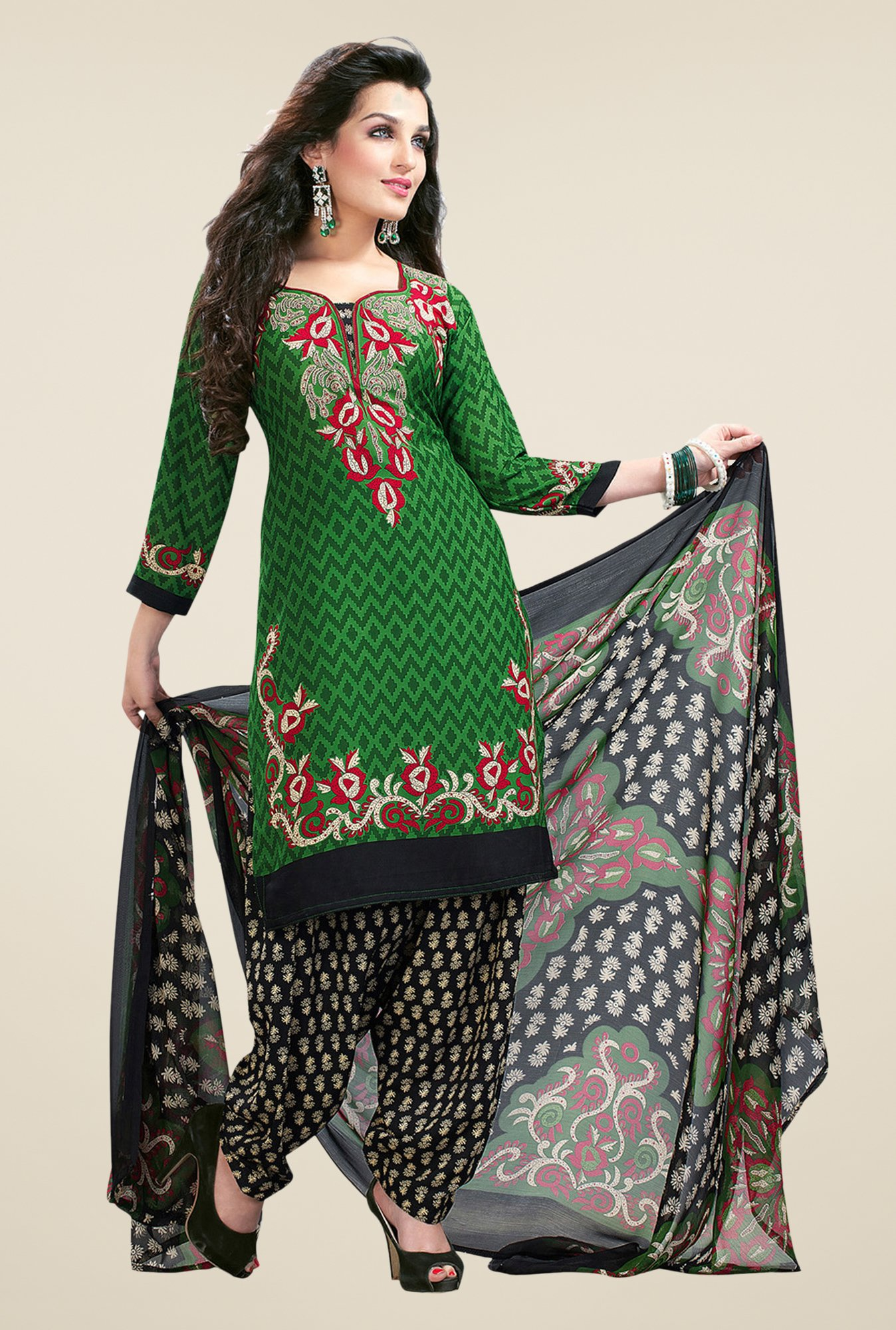 Salwar Studio Green & Black Printed Synthetic Dress Material
