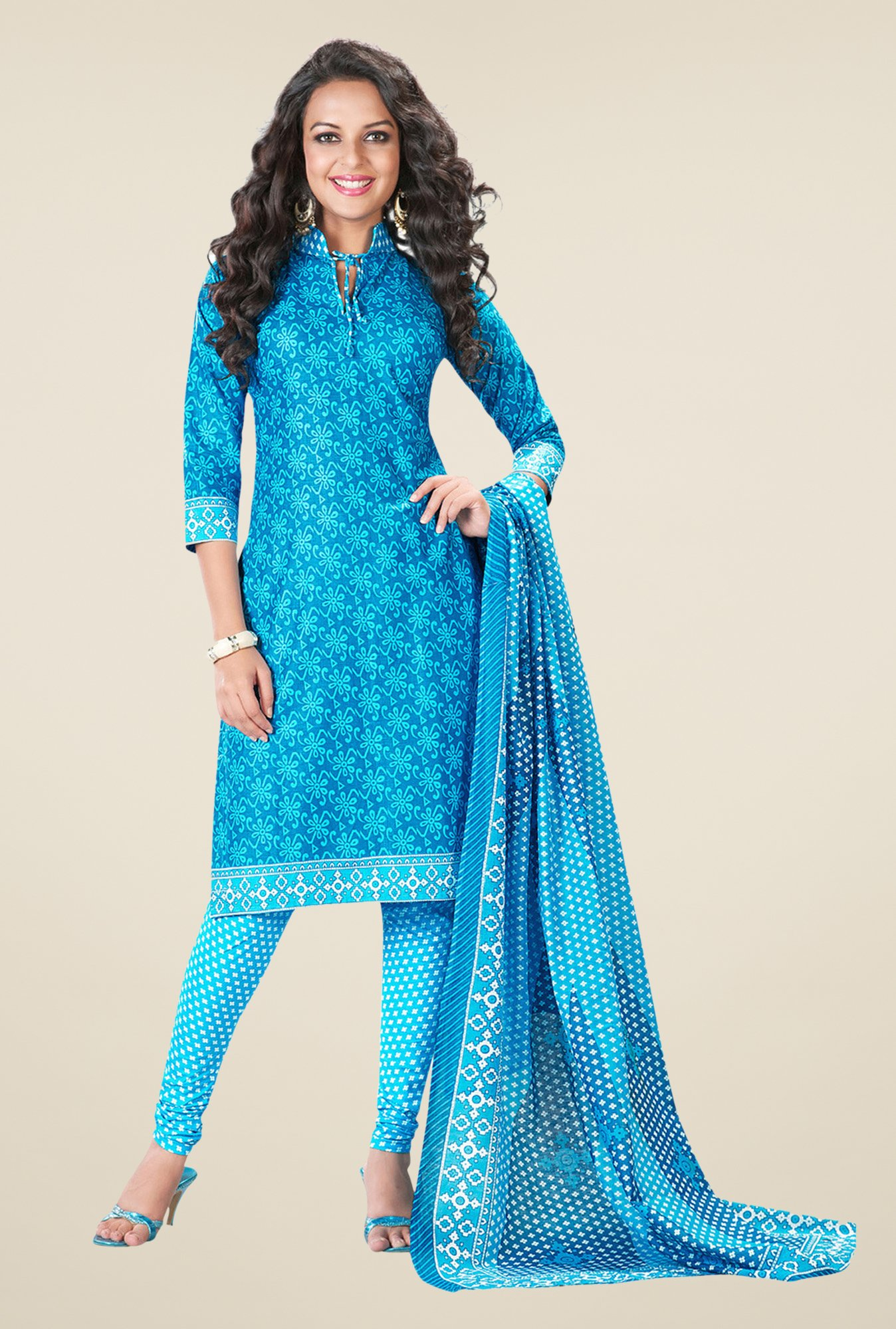 Salwar Studio Sky Blue Printed Dress Material