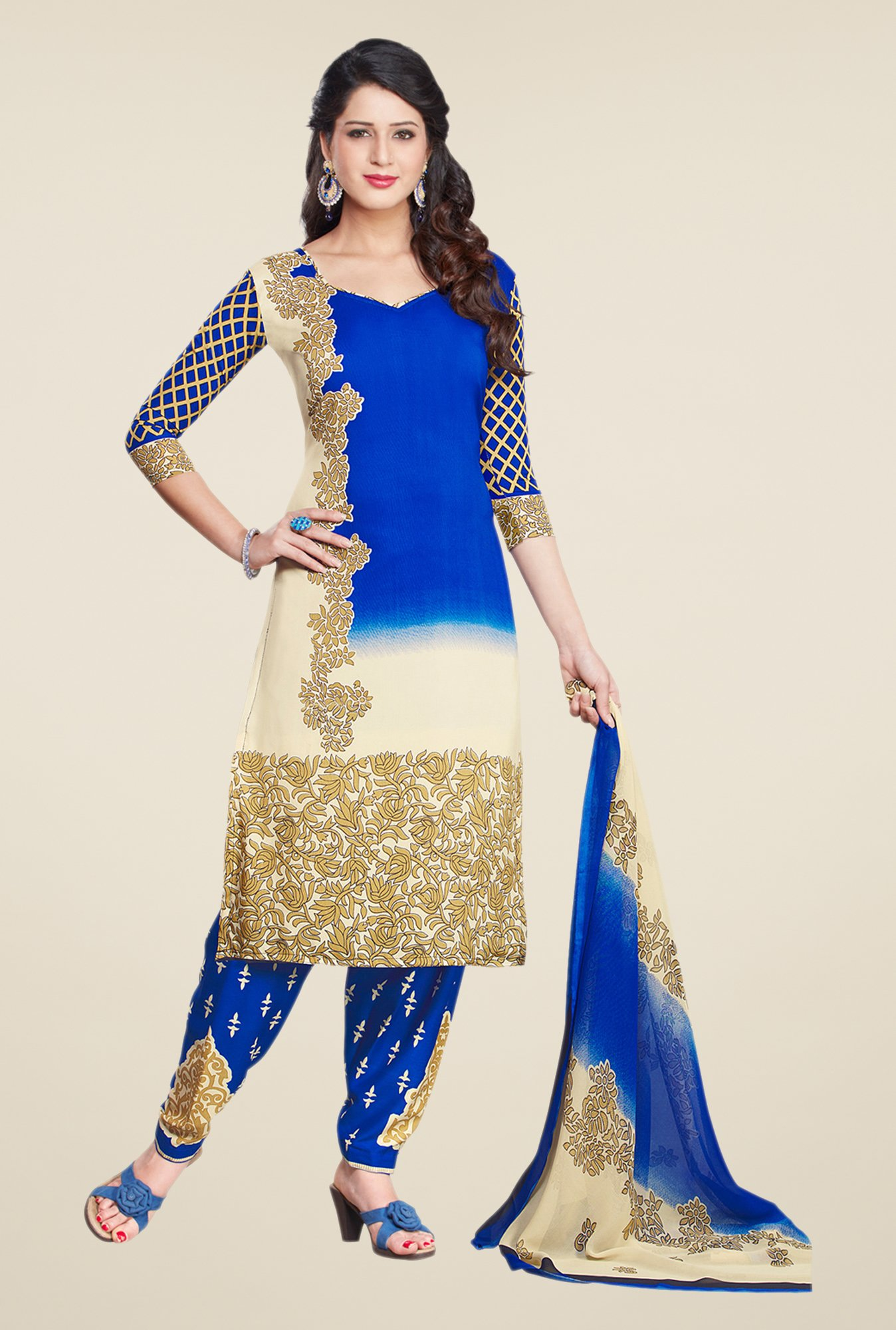 Salwar Studio Blue & Fawn Printed Dress Material