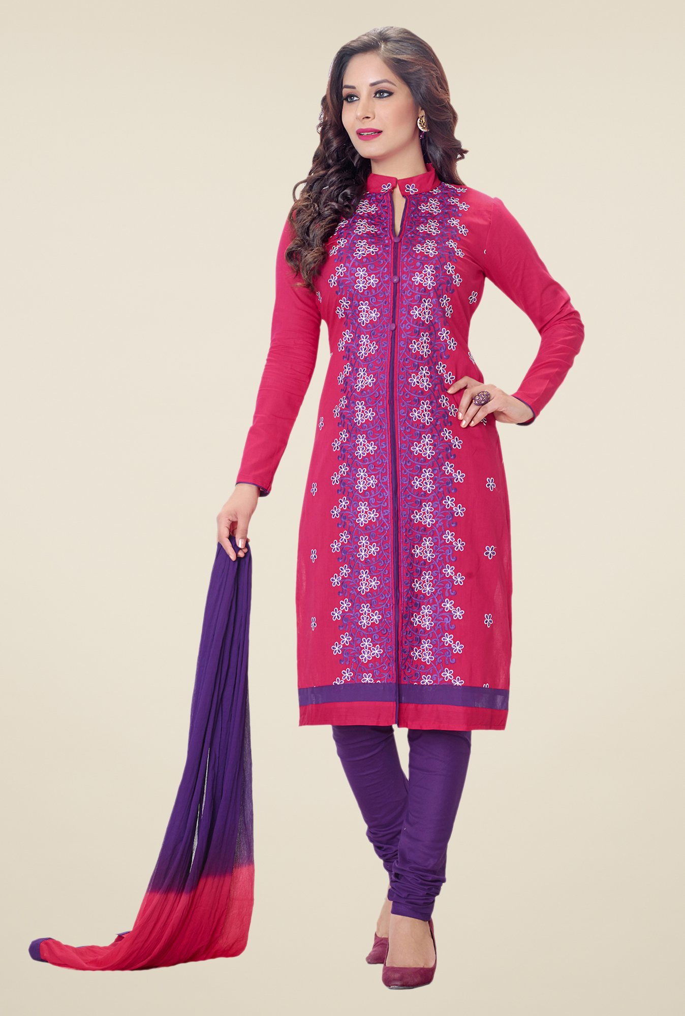 Salwar Studio Pink & Purple Embroidered Dress Material
