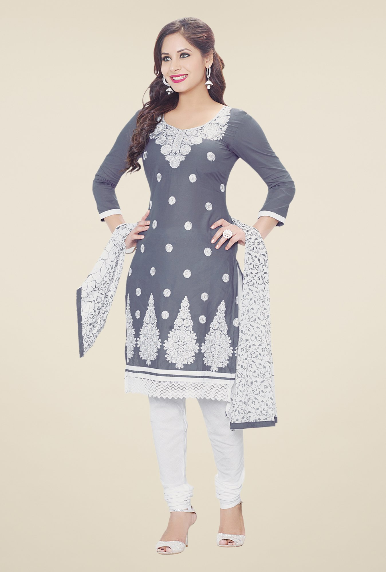 Salwar Studio Grey & White Embroidered Dress Material