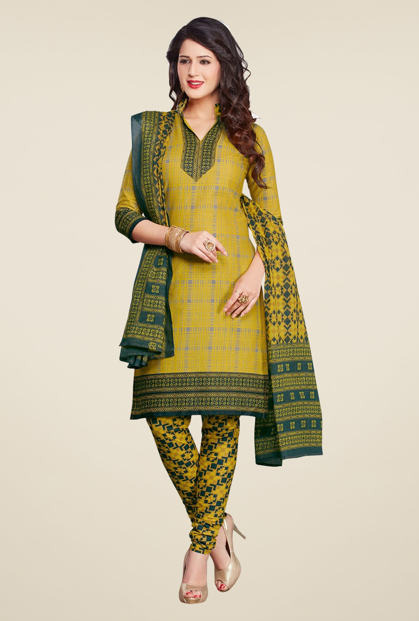 Salwar Studio Olive & Mehndi Printed Dress Material