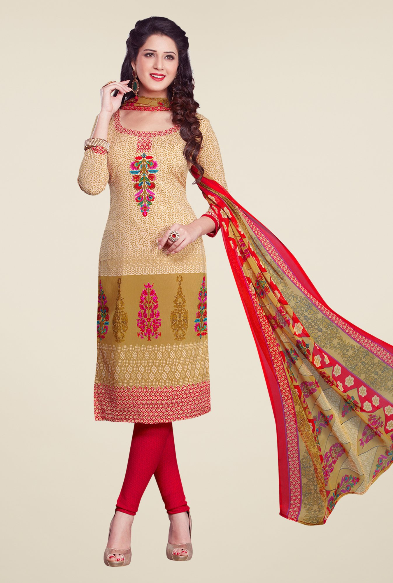 Salwar Studio Beige & Red Dress Material