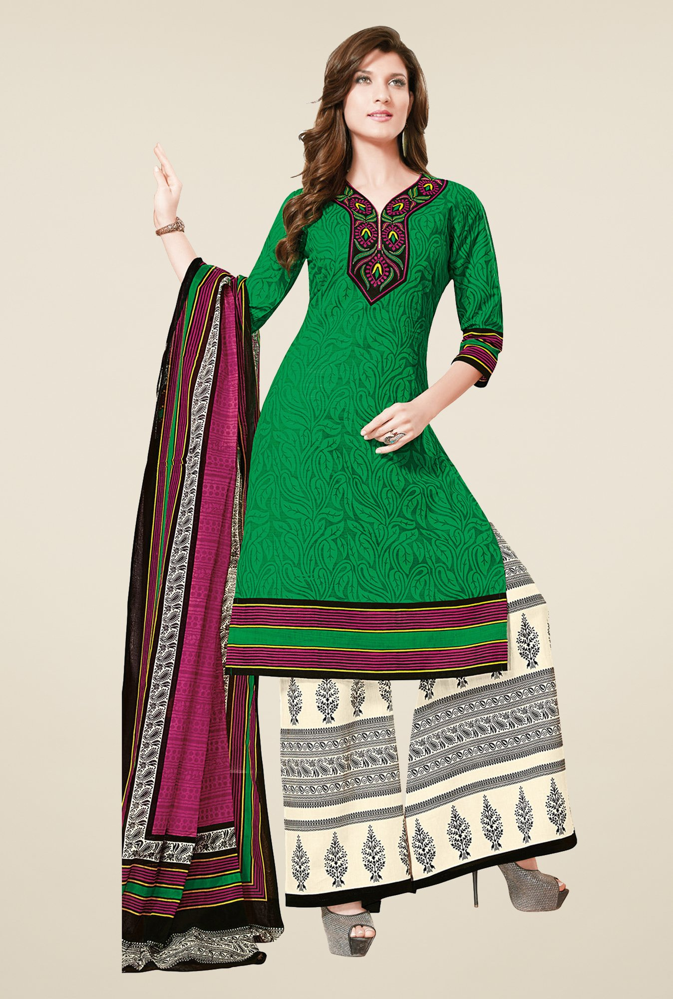 Salwar Studio Green & Cream Dress Material