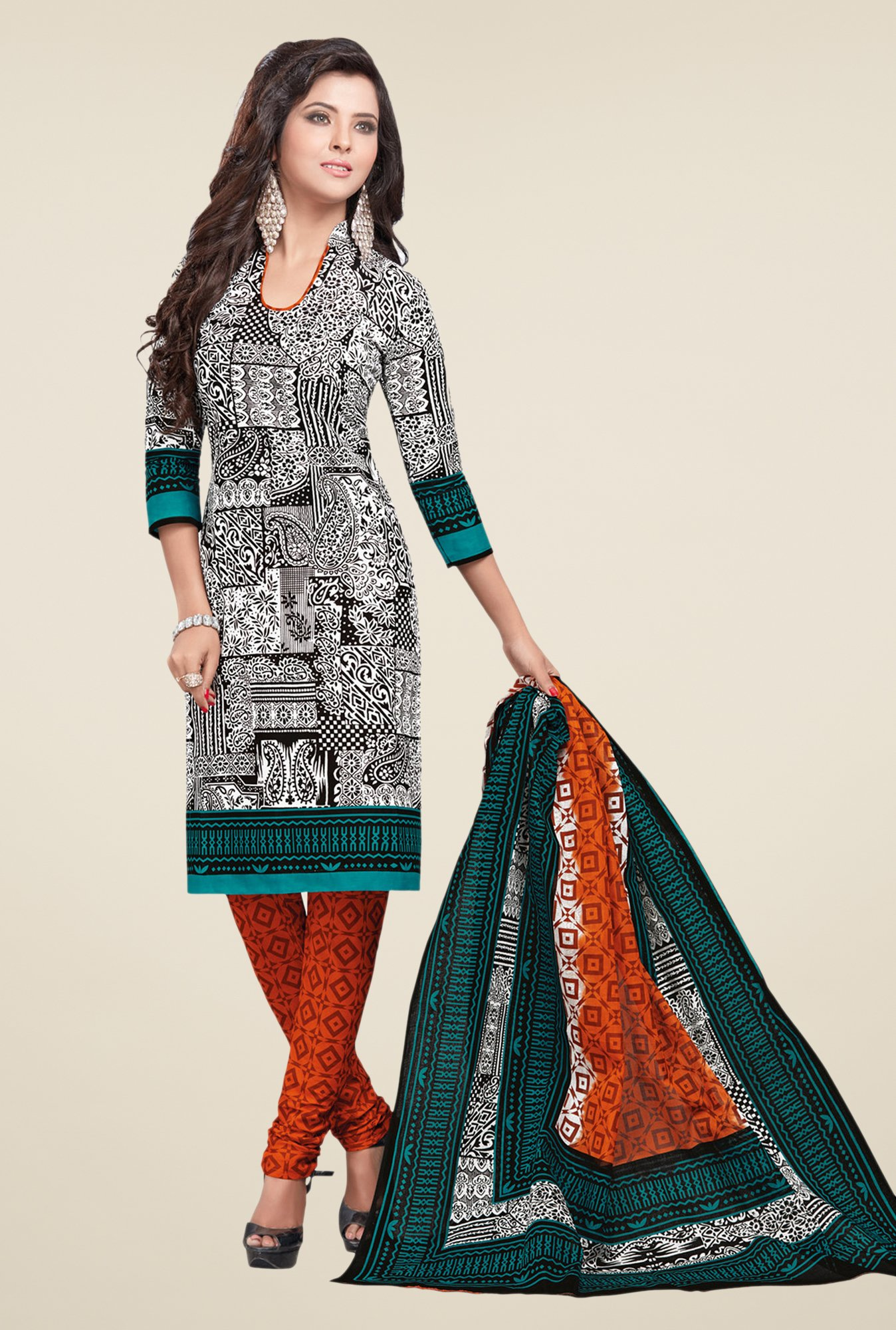 Salwar Studio White & Orange Printed Dress Material