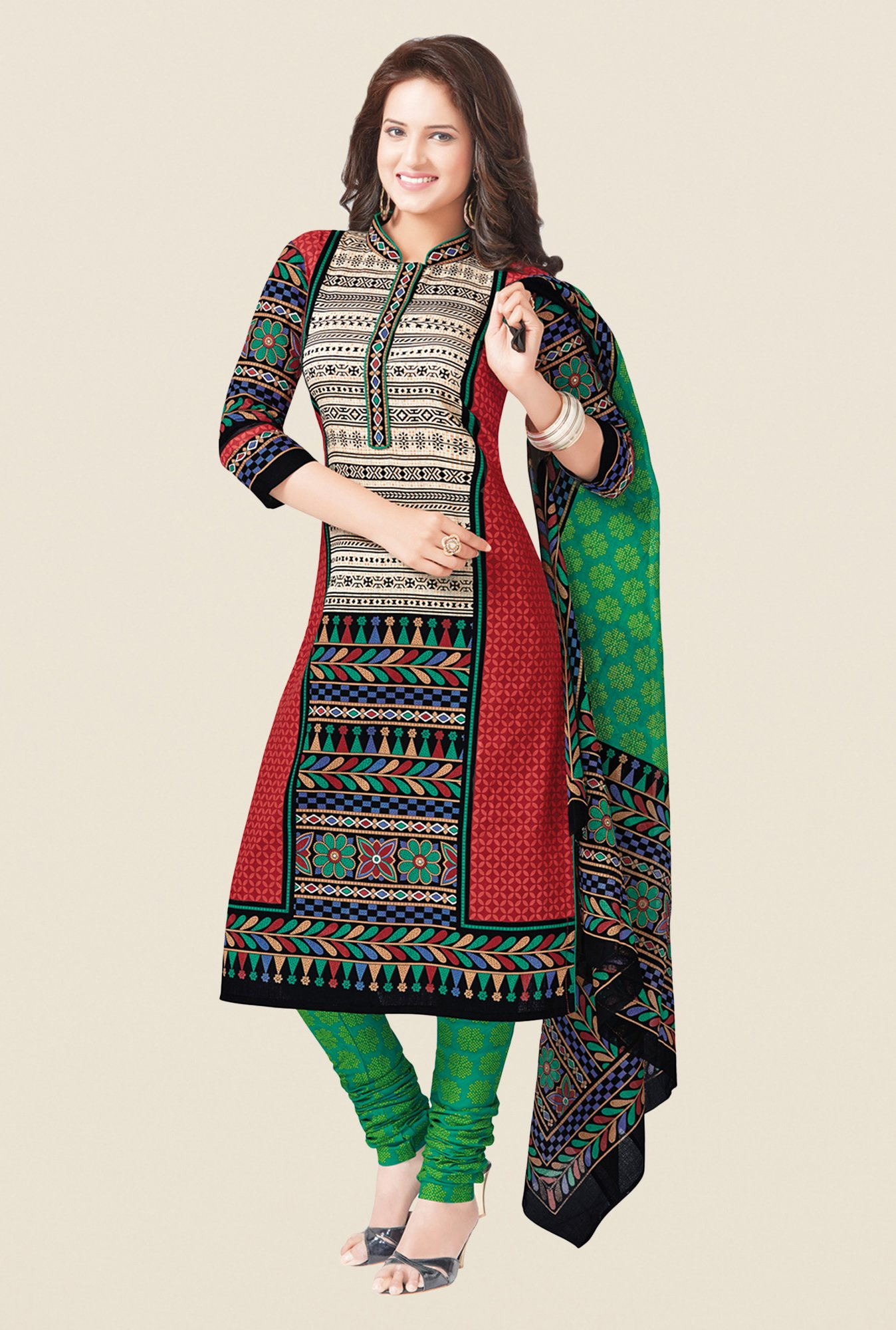 Salwar Studio Red & Green Free Size Dress Material