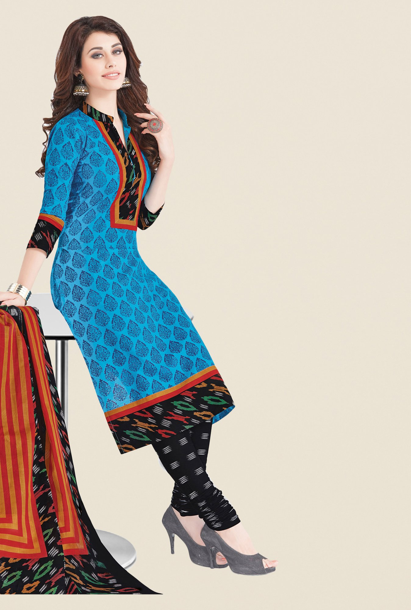 Salwar Studio Blue & Black Printed Dress Material