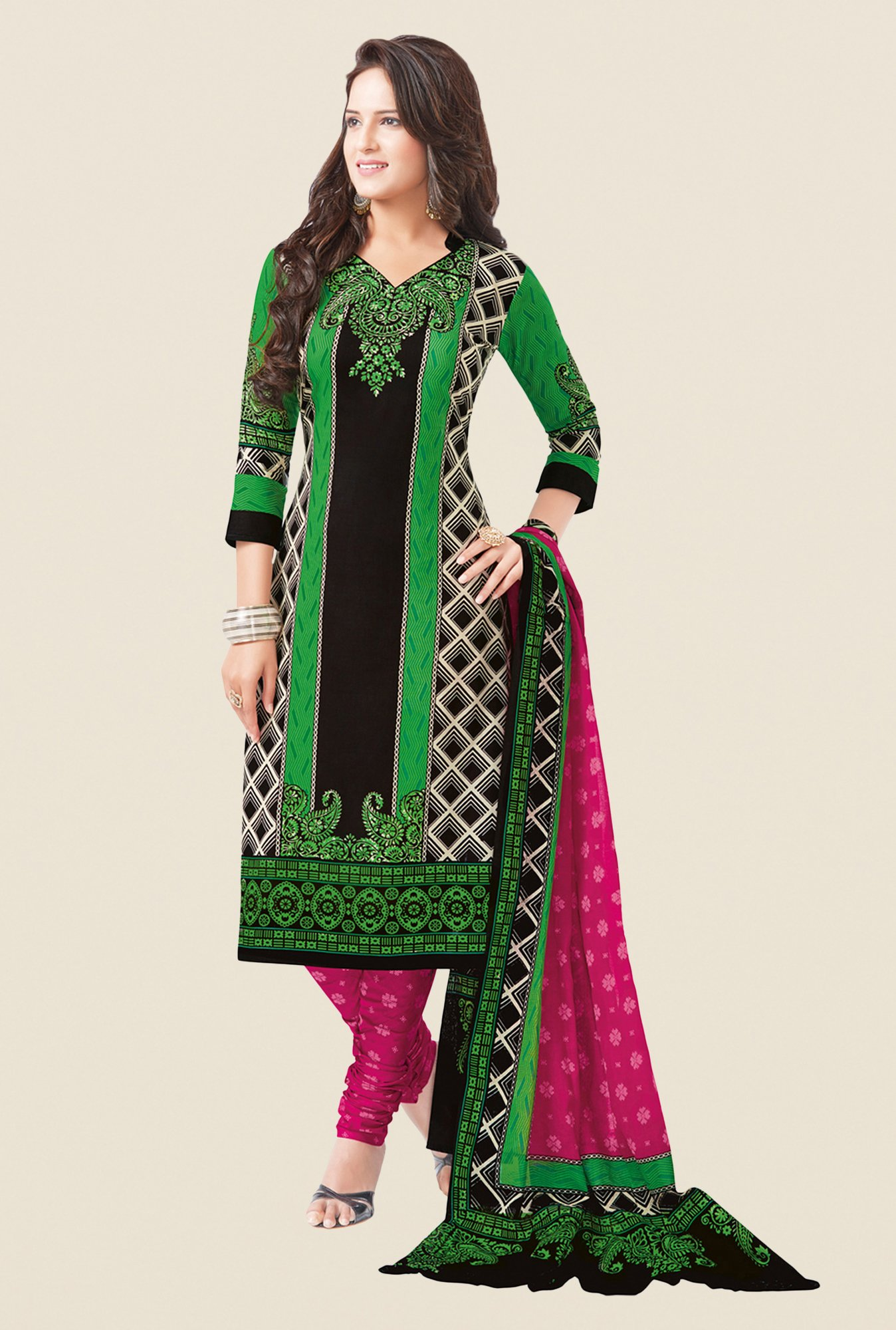 Salwar Studio Green & Pink Printed Free Size Dress Material