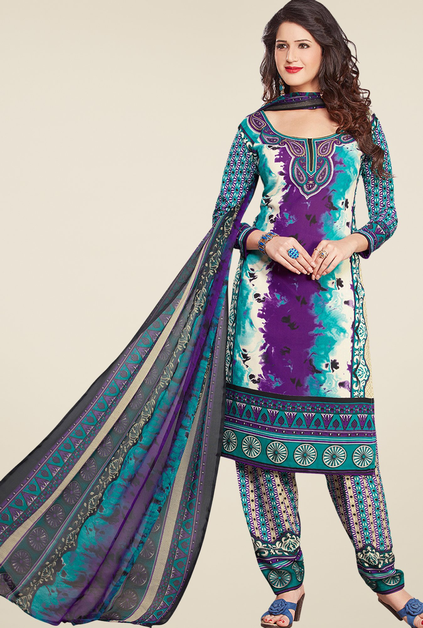 Salwar Studio Violet & Green Printed Dress Material
