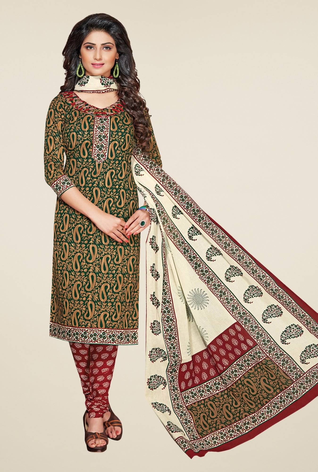 Salwar Studio Green & Maroon Printed Dress Material