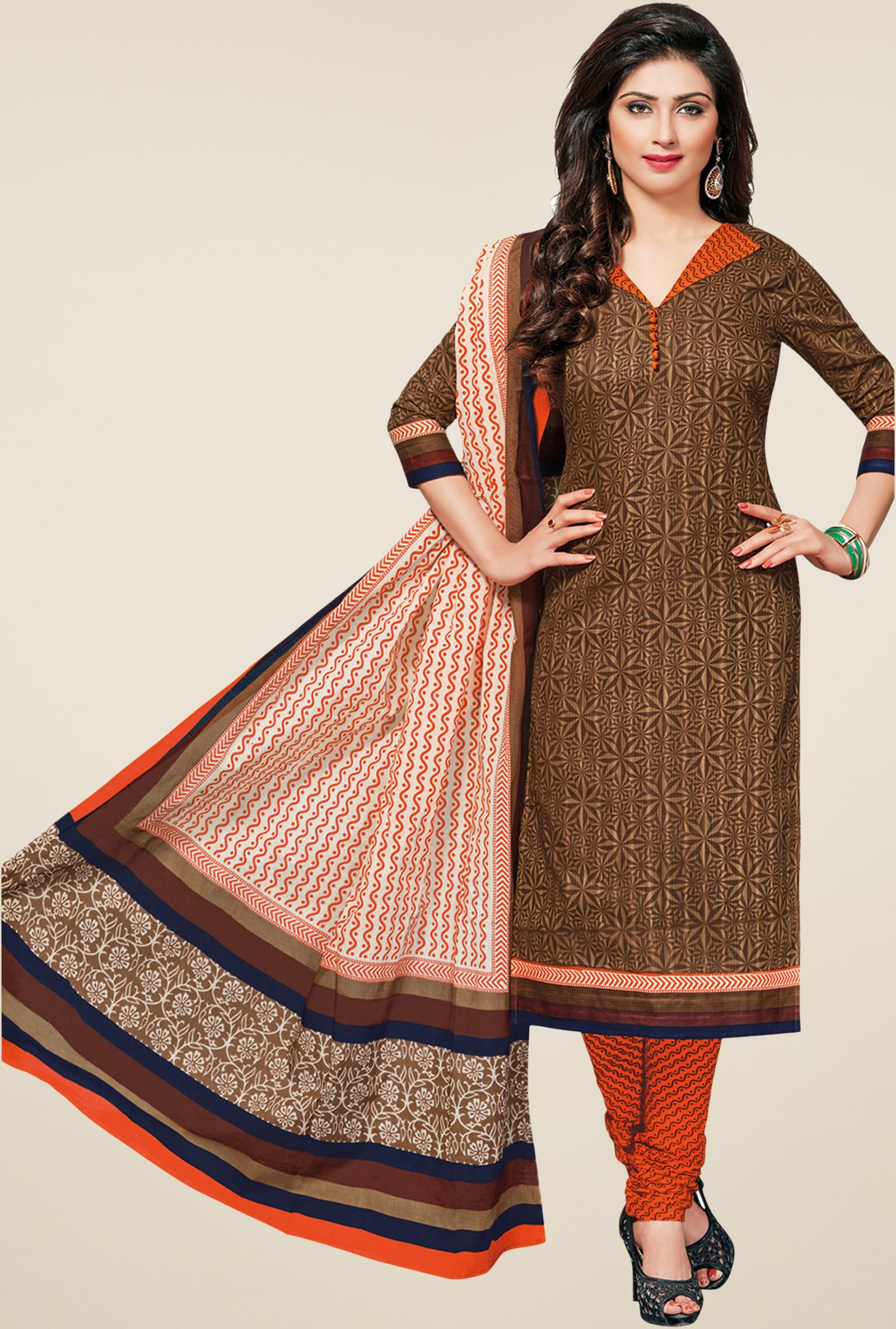 Salwar Studio Brown & Orange Printed Dress Material