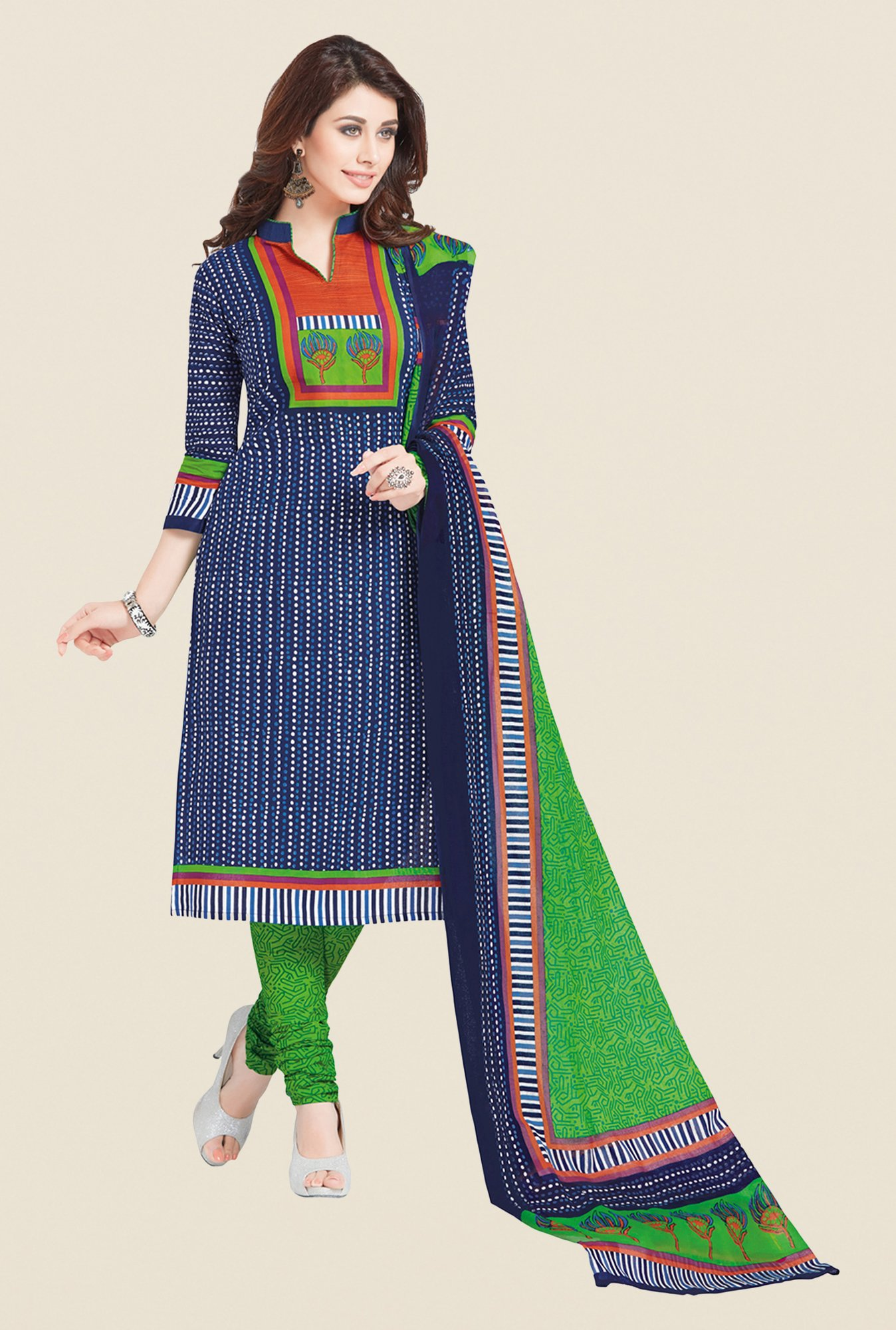 Salwar Studio Blue & Green Regular Wash Dress Material