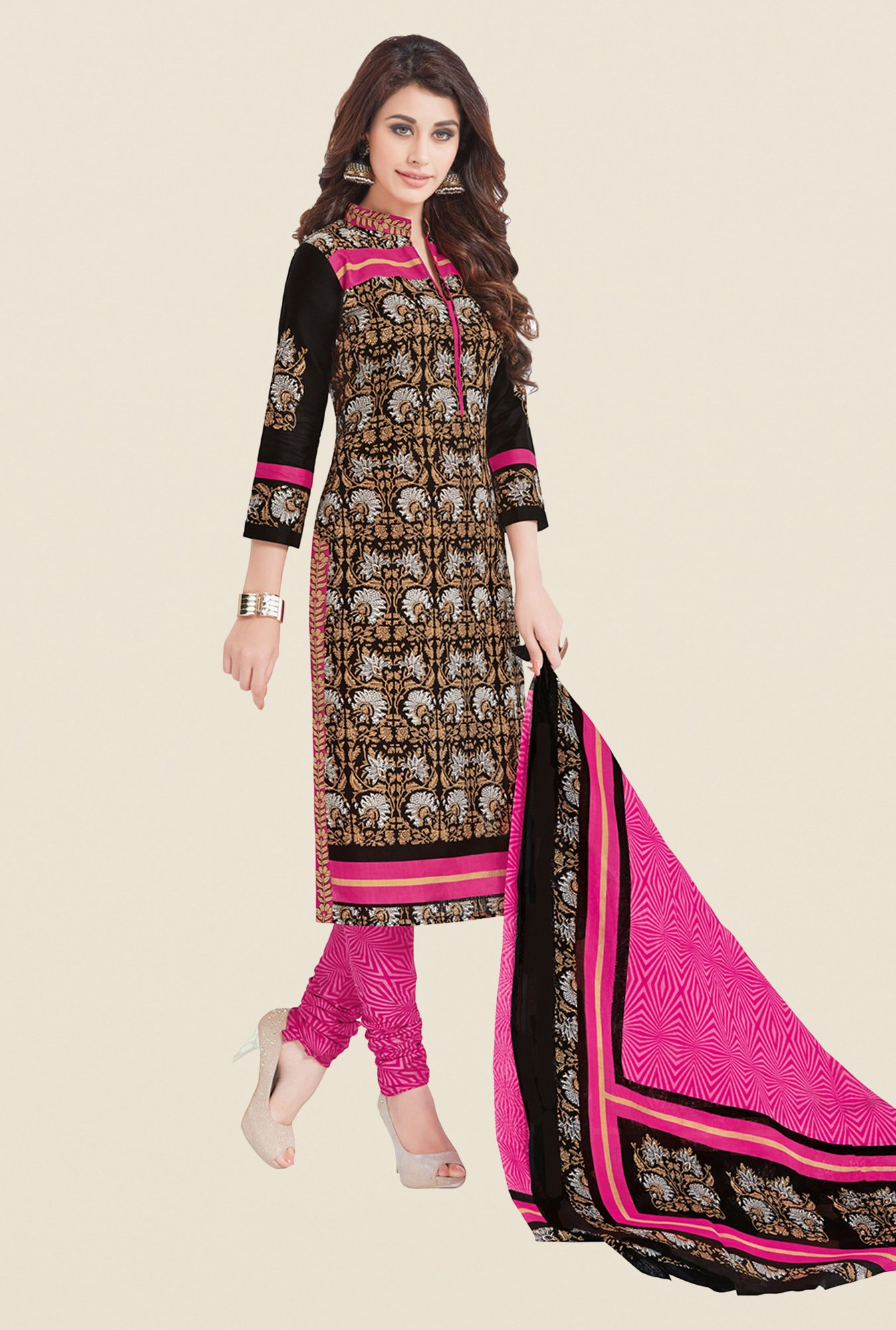 Salwar Studio Black & Pink Printed Cotton Dress Material
