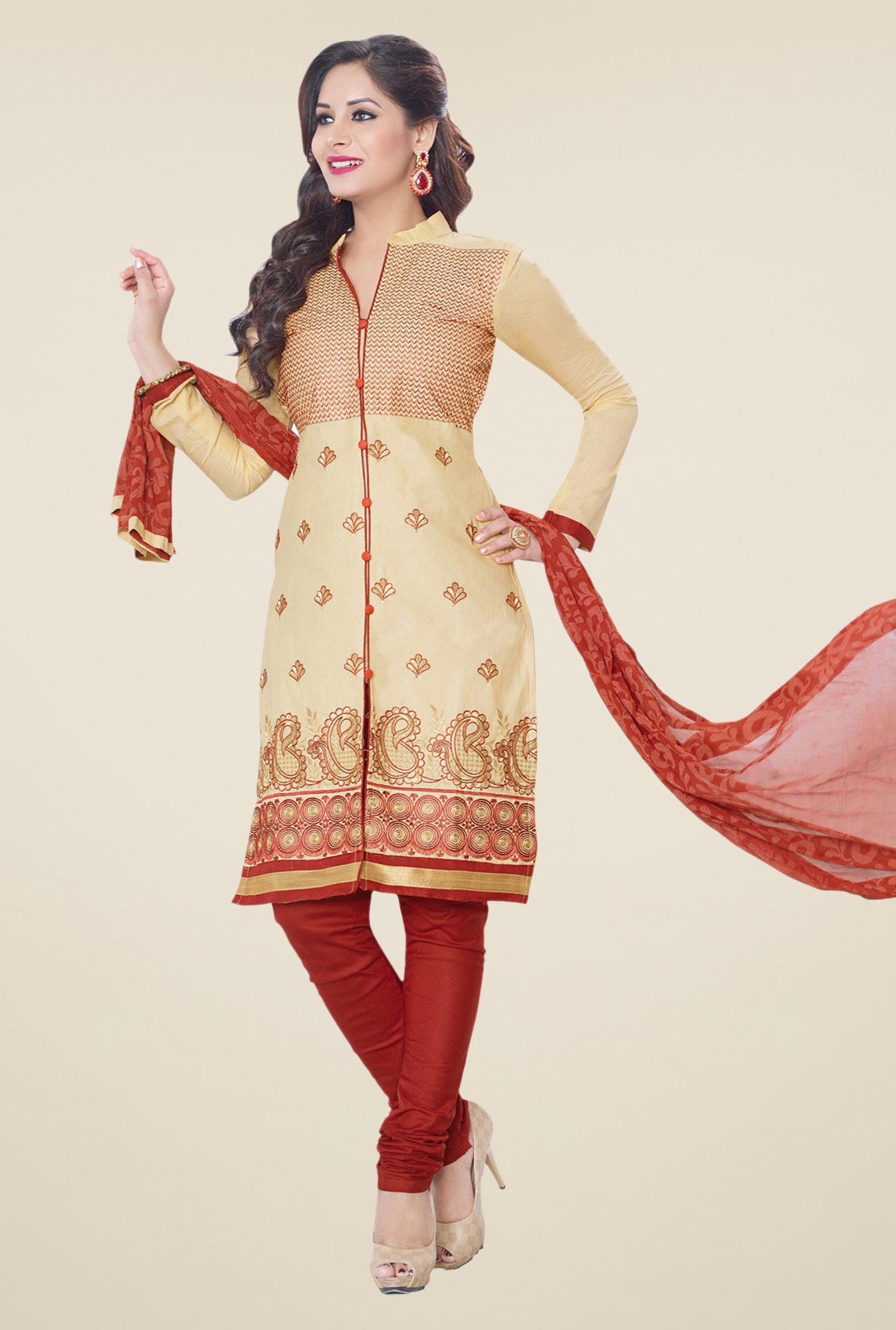 Salwar Studio Beige & Rust Embroidered Dress Material