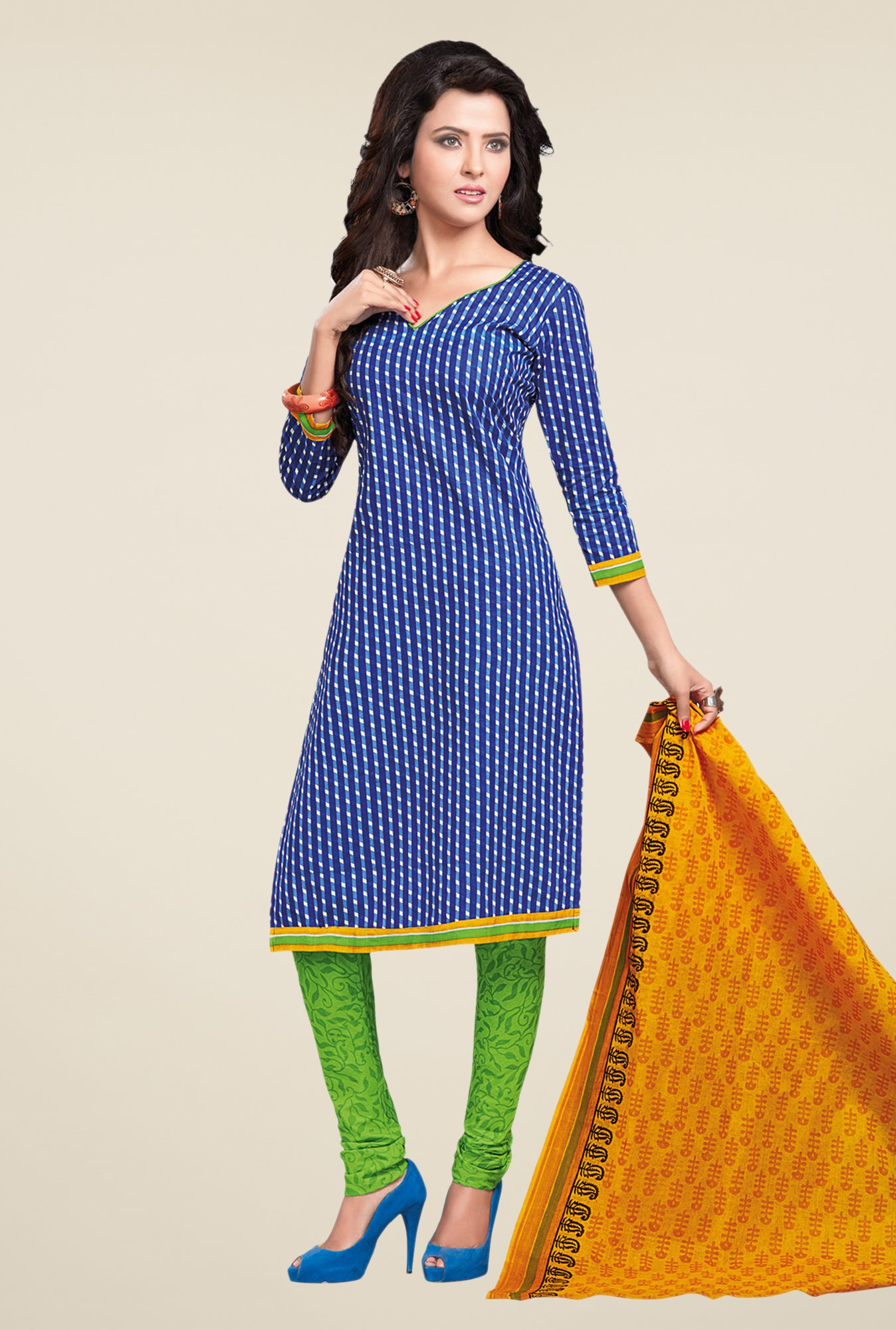 Salwar Studio Blue & Green Striped Dress Material