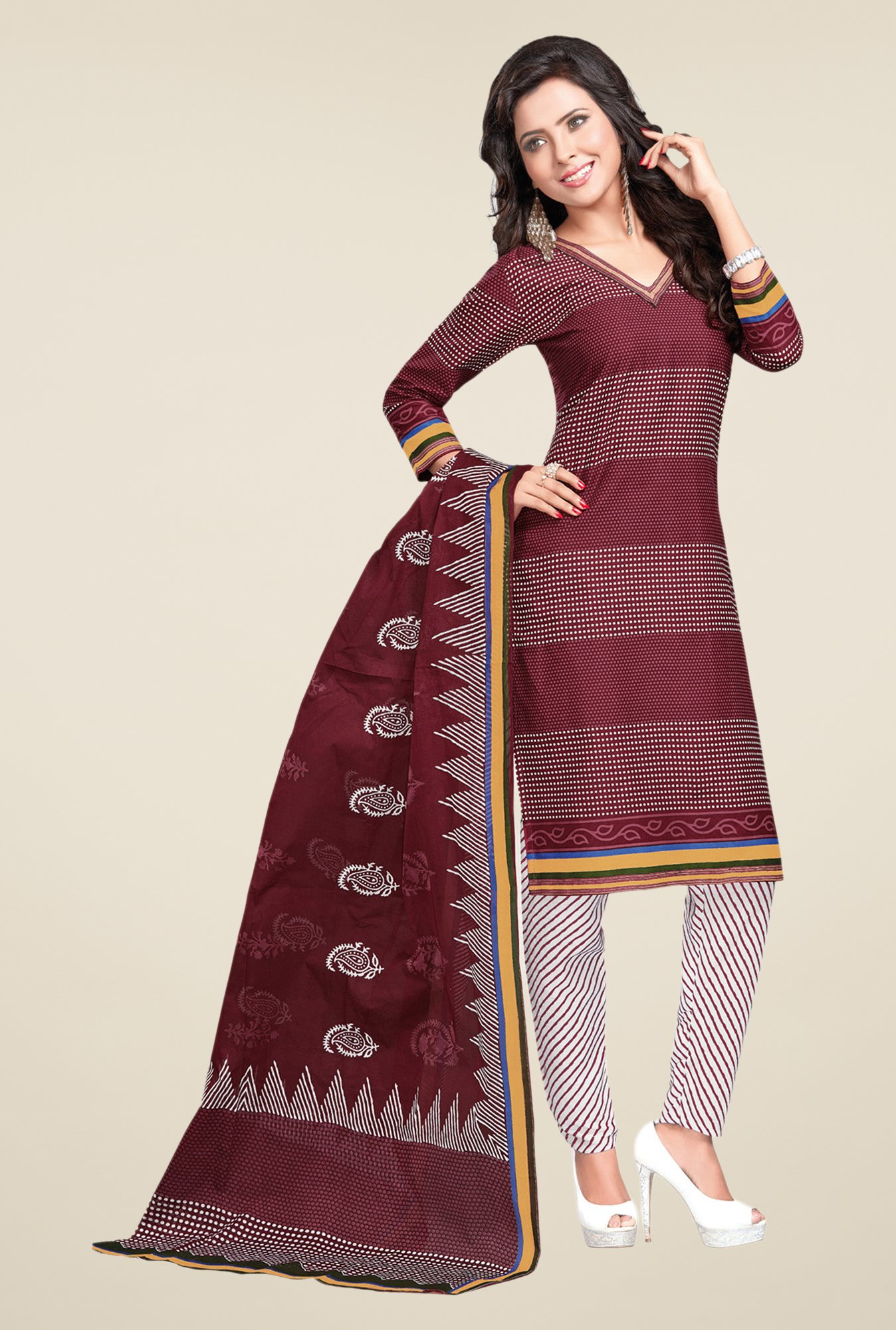 Salwar Studio Maroon & White Striped Dress Material