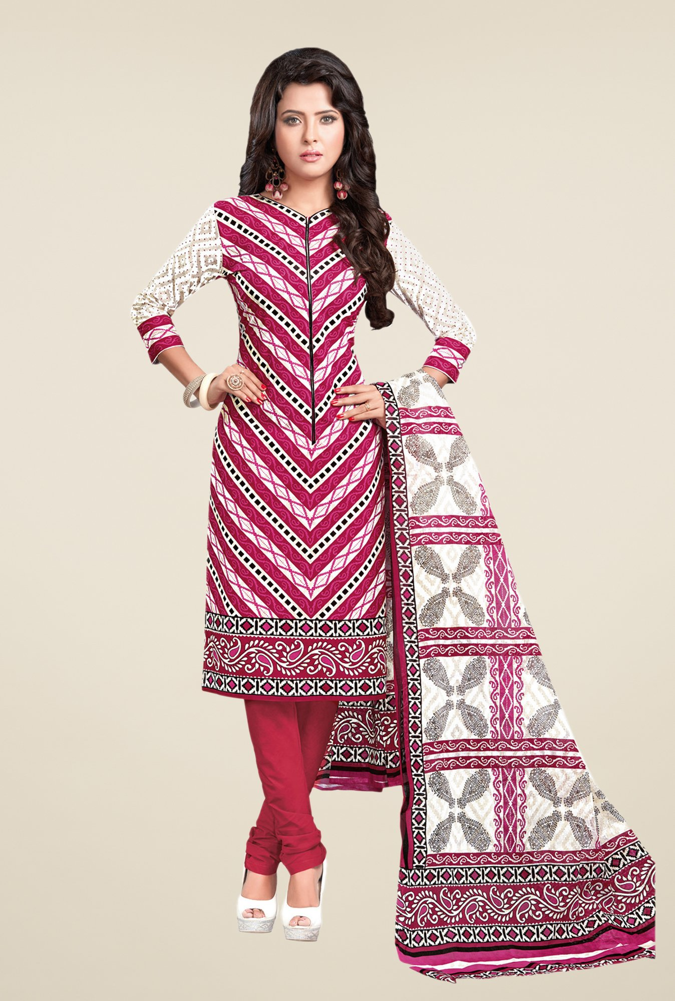 Salwar Studio Pink & White Printed Cotton Dress Material