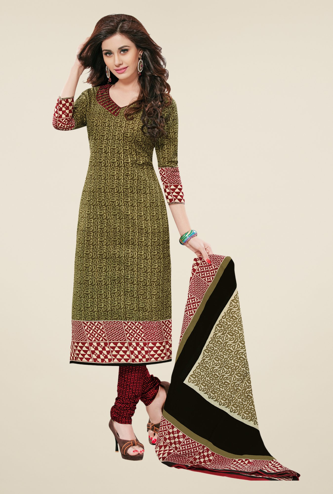 Salwar Studio Mehndi & Maroon Printed Dress Material