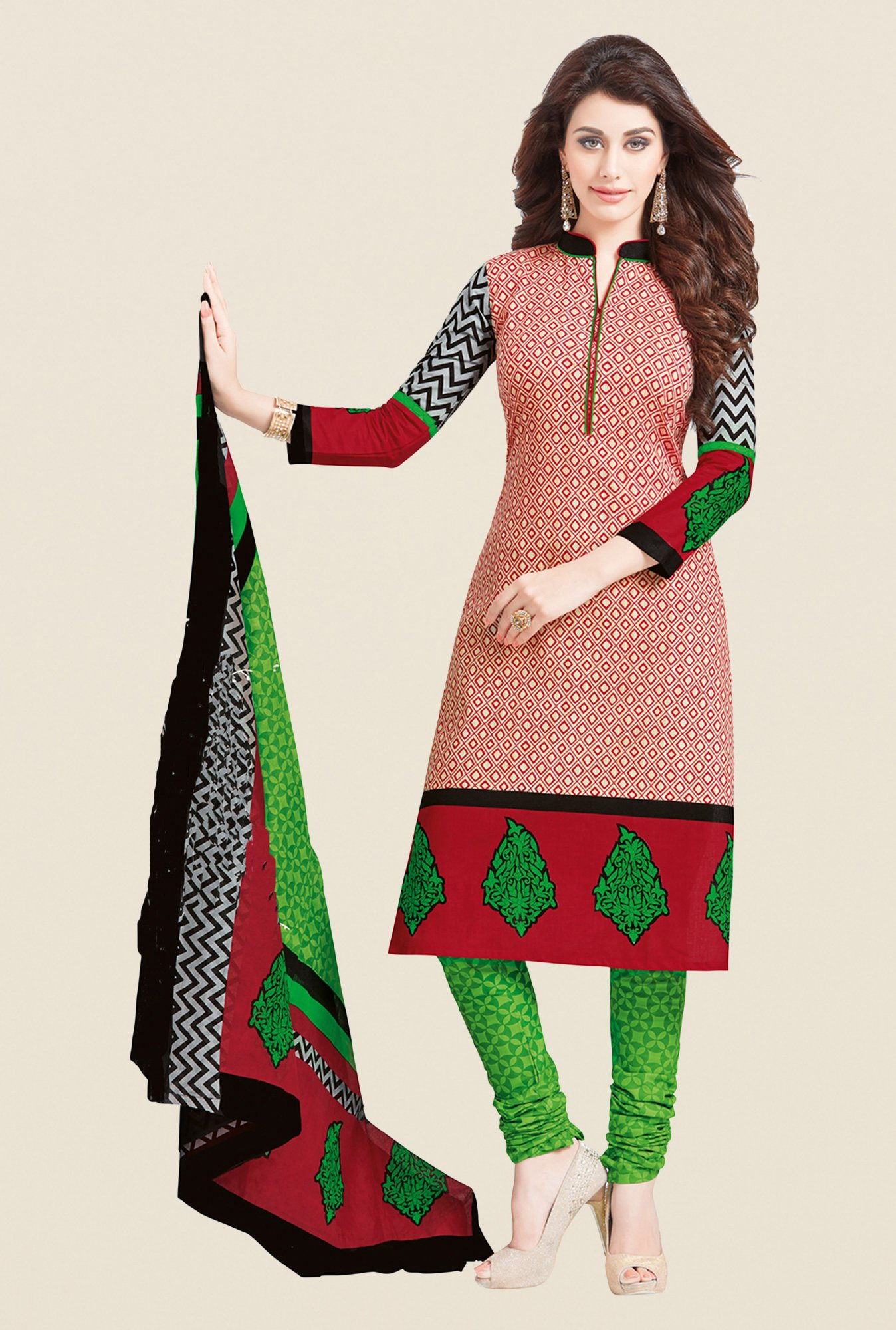 Salwar Studio Red & Green Printed Cotton Dress Material