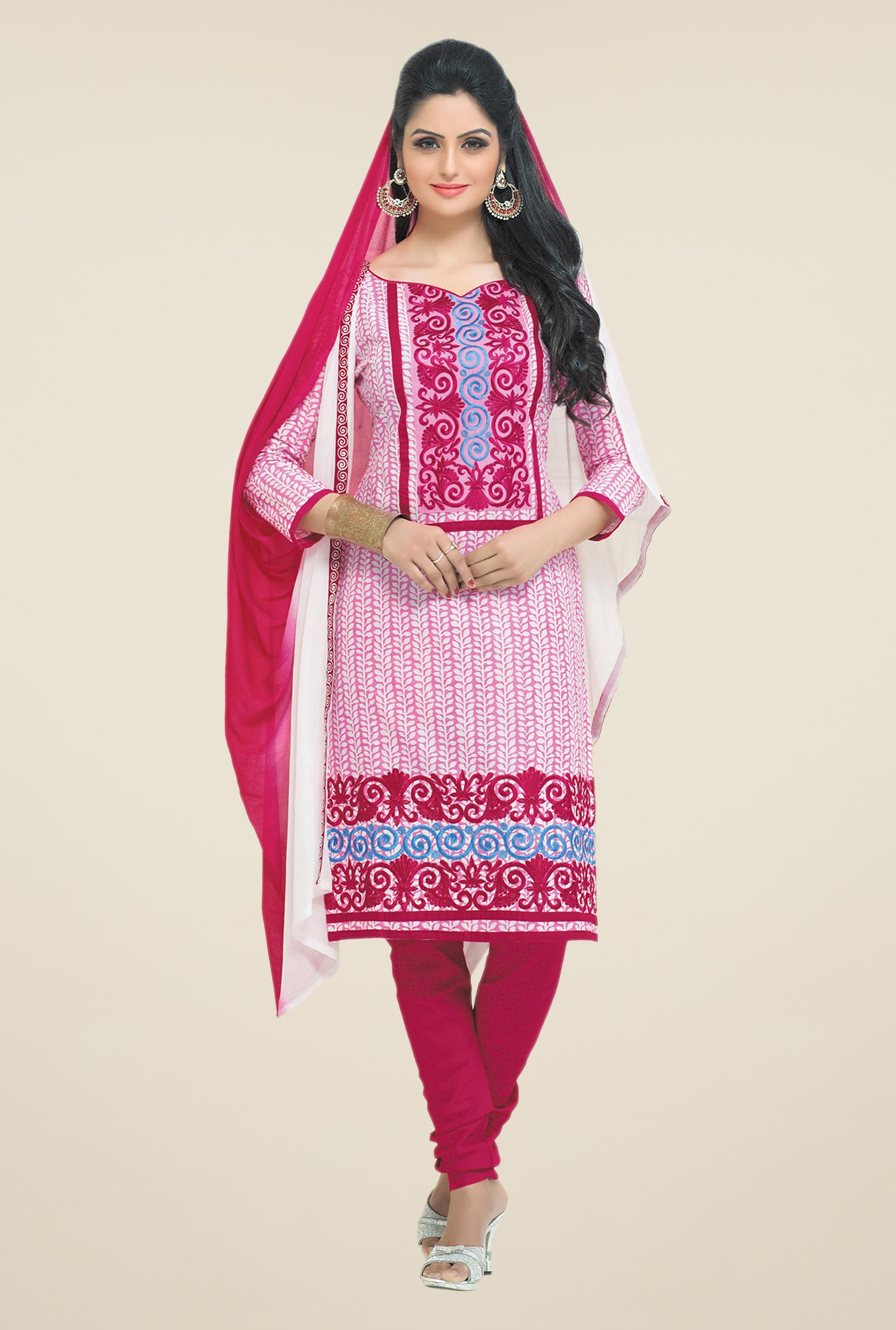 Salwar Studio Pink & White Regular Wash Dress Material